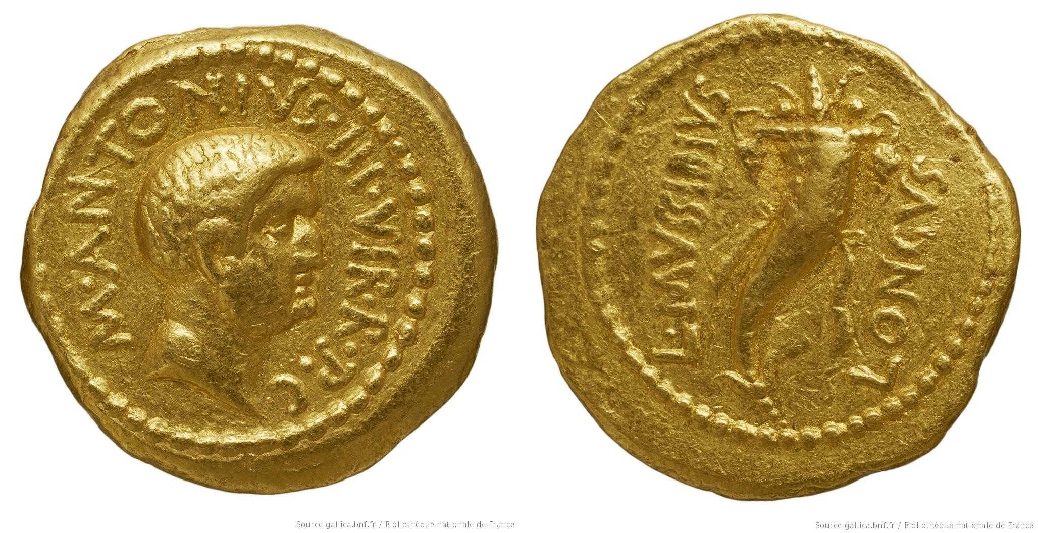 1592AN – Aureus Marc Antoine – Lucius Mussidius Longus