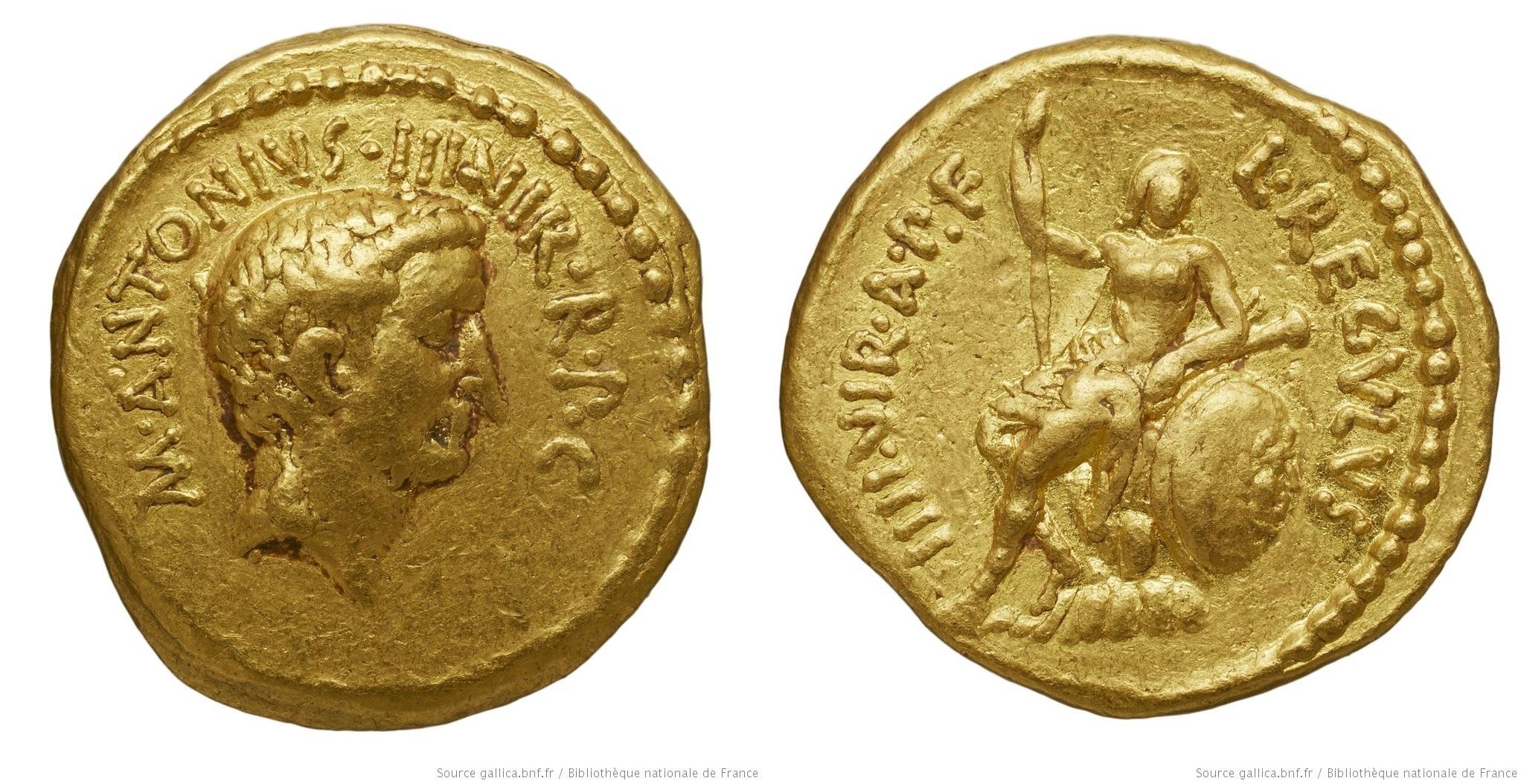 1580AN – Aureus Marc Antoine – Lucius Livineius Regulus