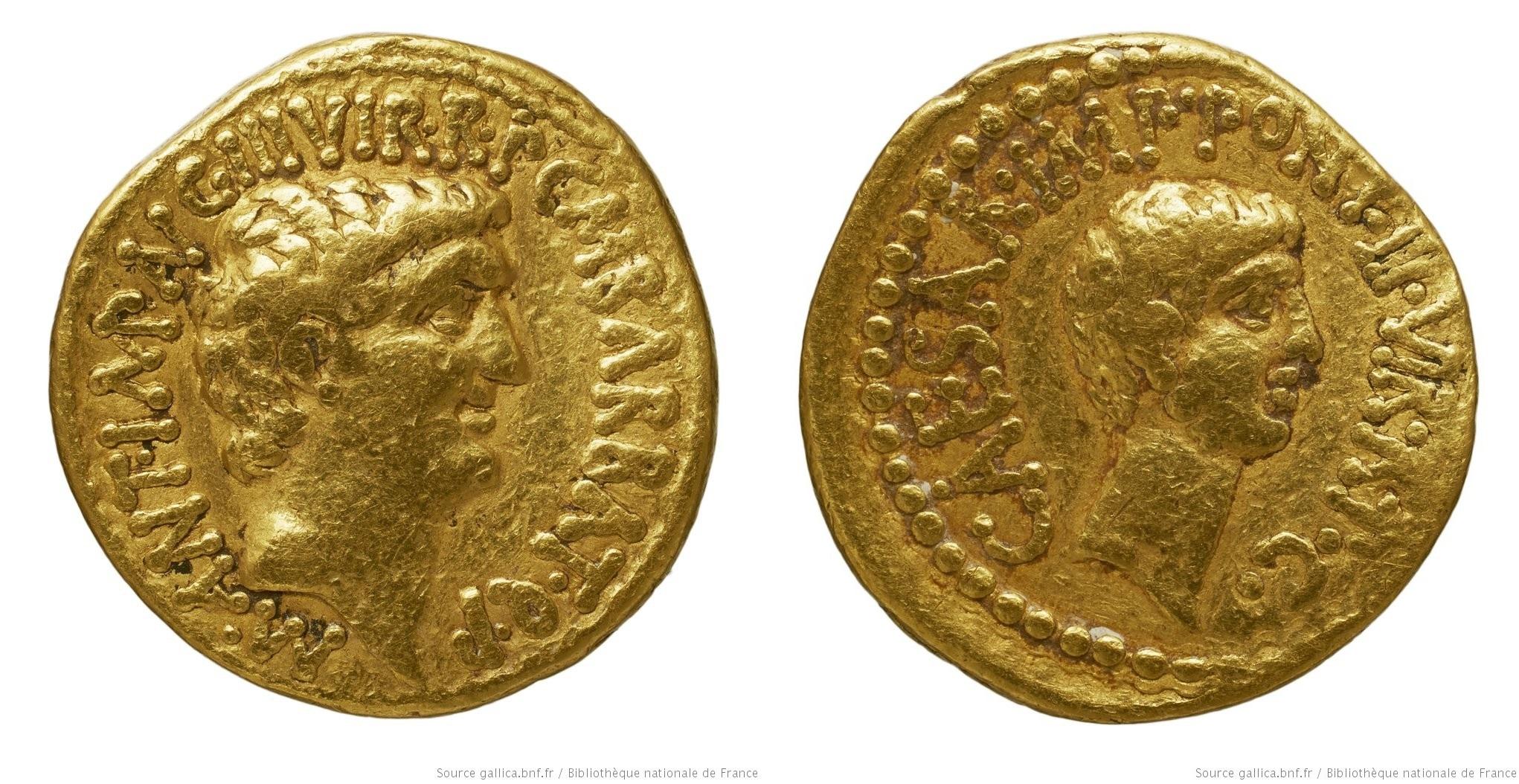1685AN – Aureus Marc Antoine et Octave – Marcus Antonius