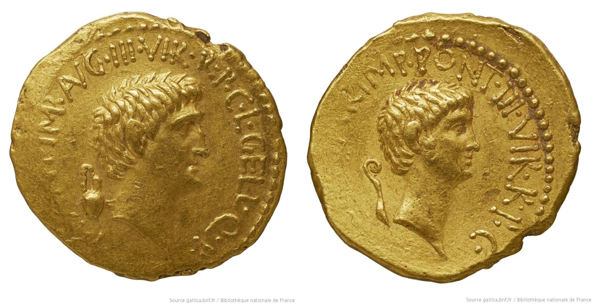 1691AN – Aureus Marc Antoine et Octave – Lucius Gellius Publicola