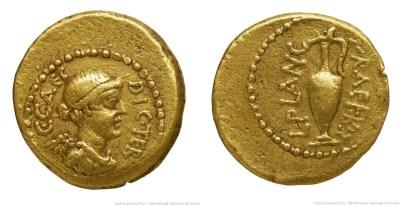 1517JU – Quinaire d'Or César – Lucius Munatius Plancus