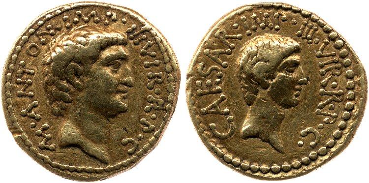 1717AN – Aureus Marc Antoine et Octave – Marcus Antonius