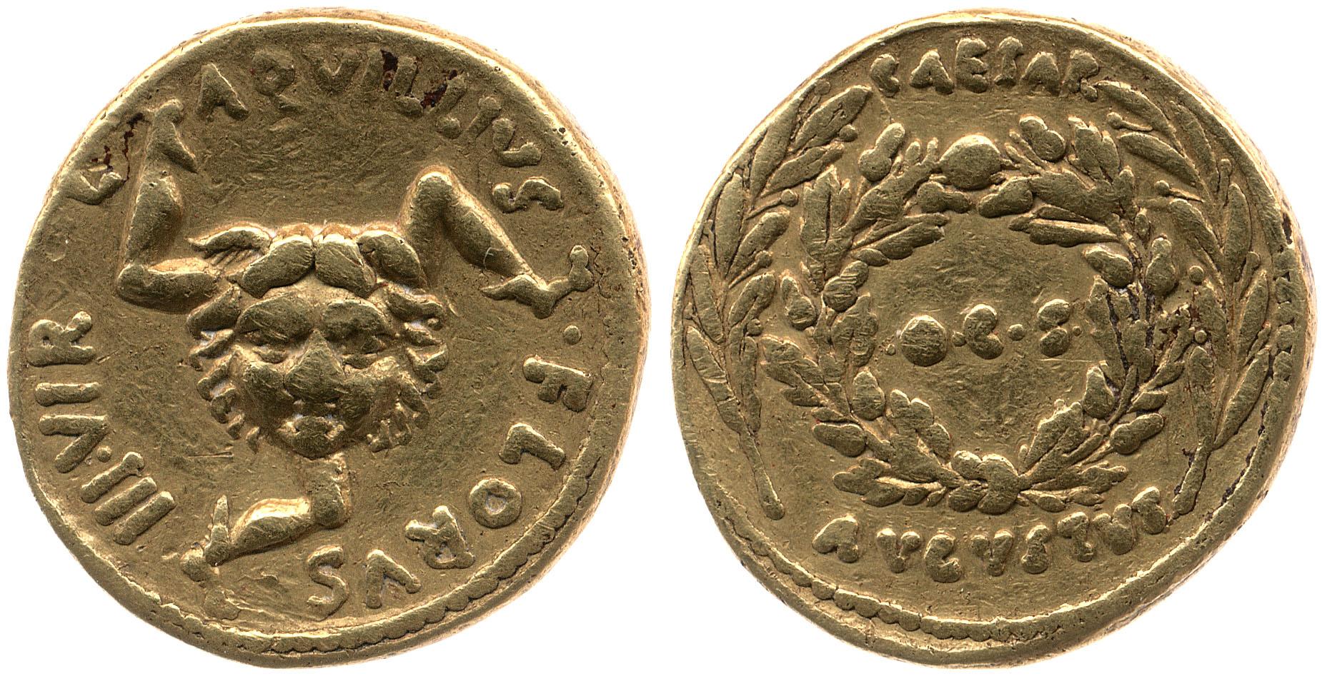 2059AU – Aureus Auguste – L.Aquillius Florus