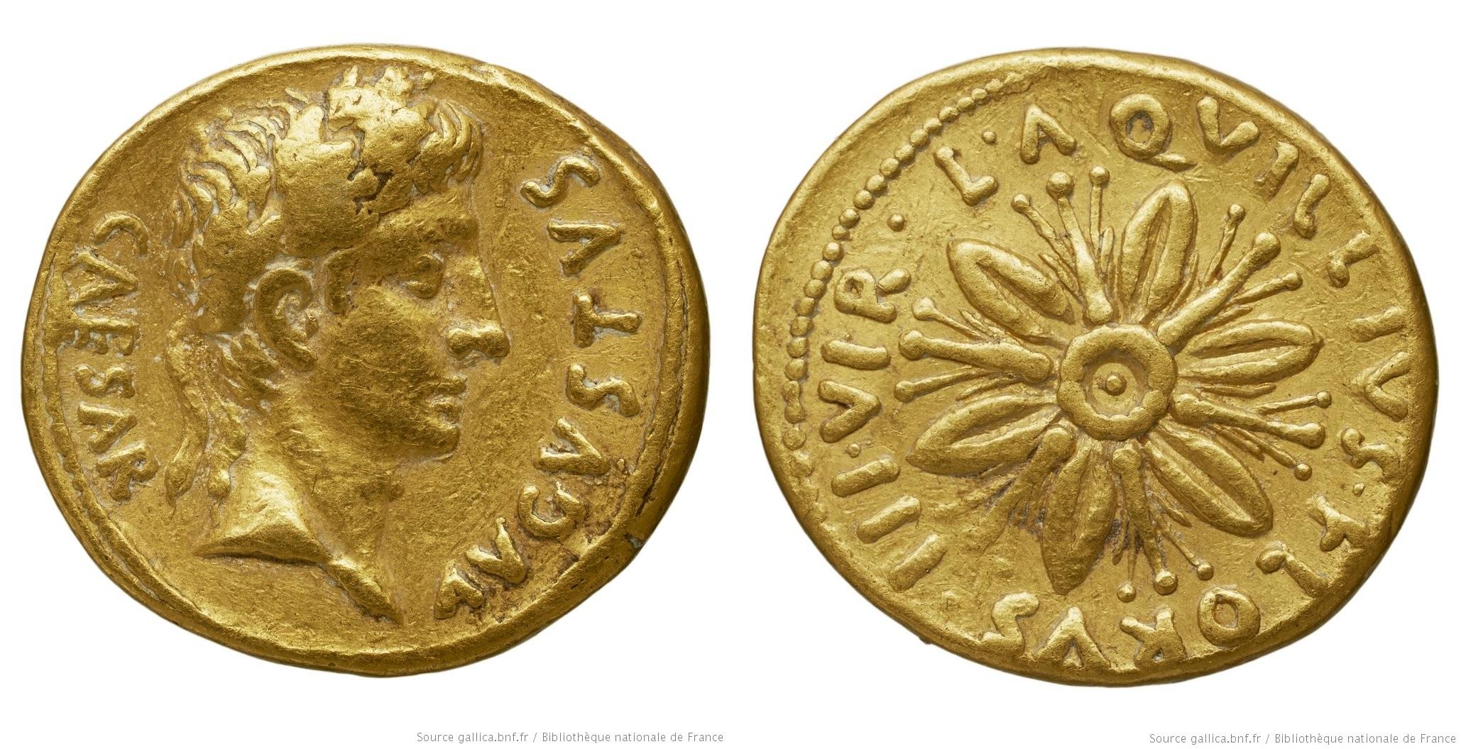 2065AU – Aureus Auguste – L.Aquillius Florus