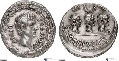 2145AU – Denier Auguste – C. Marius Tromentina