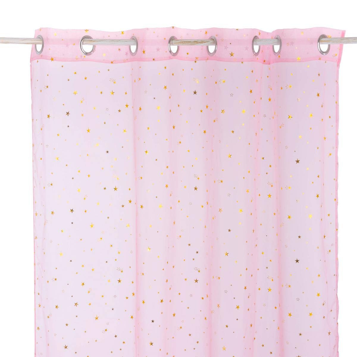 Voilage A Illets 140x250 Cm Etoiles Or Rose