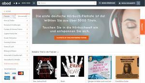 Browser-Screenshot: Hörbuch-Flatrate abod 30 Tage lang gratis testen