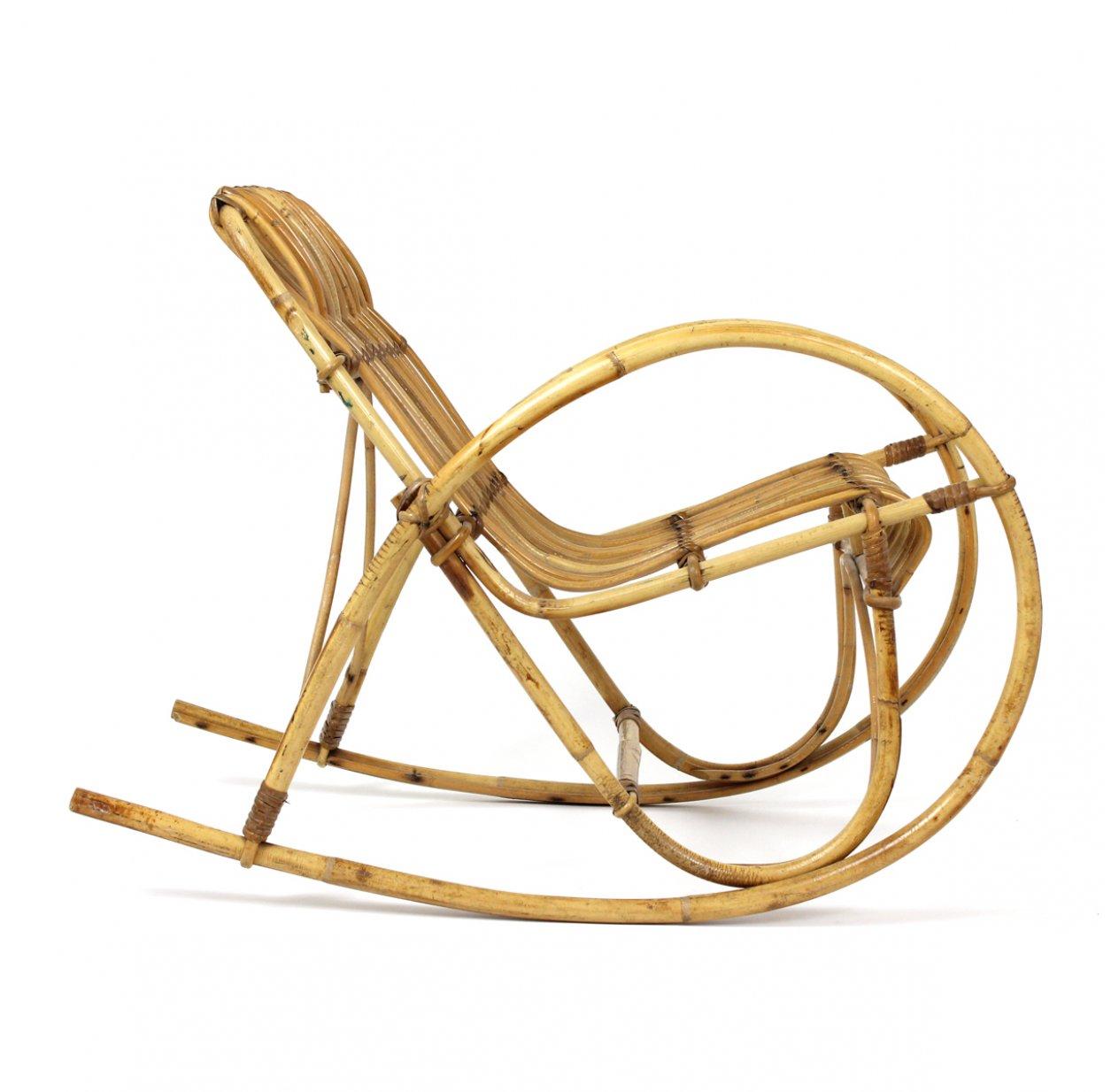 fauteuil a bascule enfant en rotin