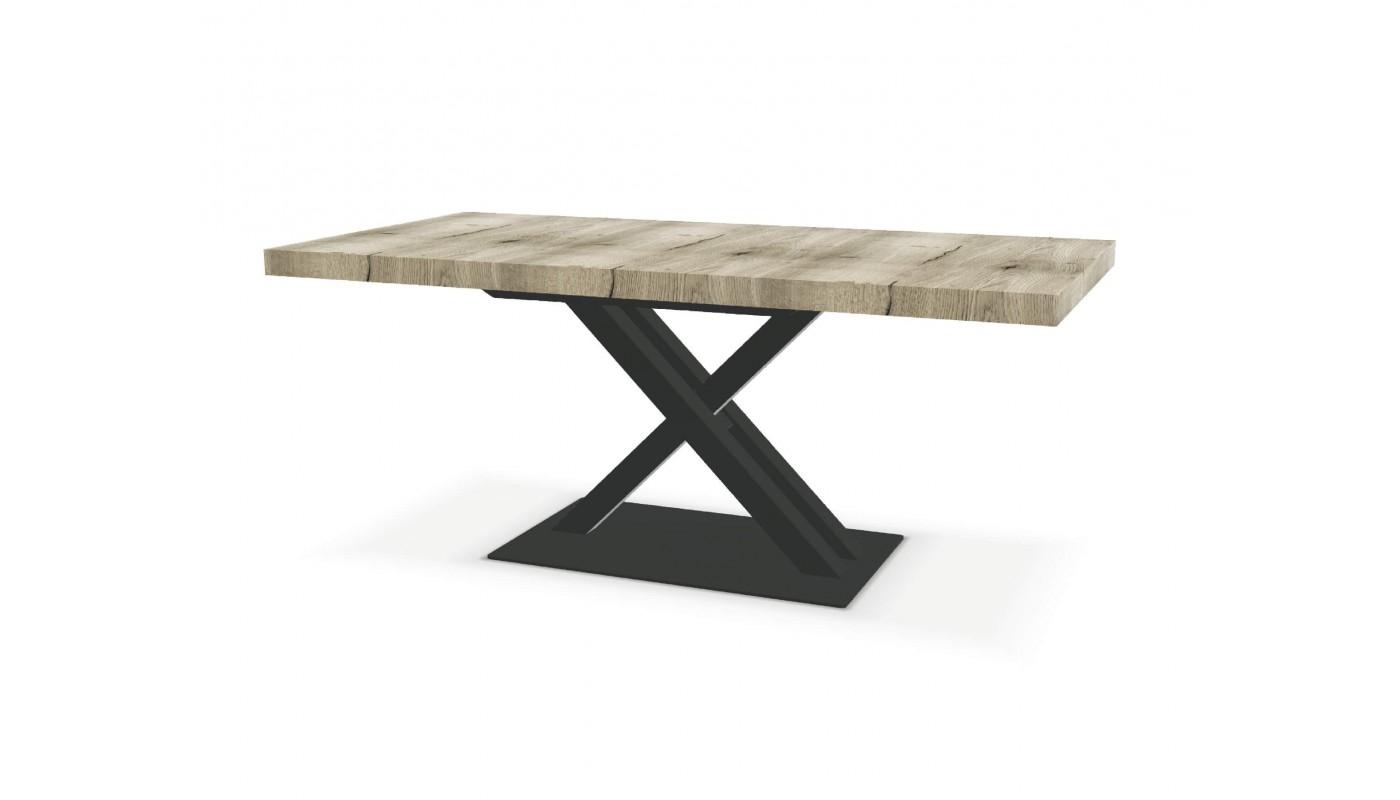 table pied central avec 1 allonge