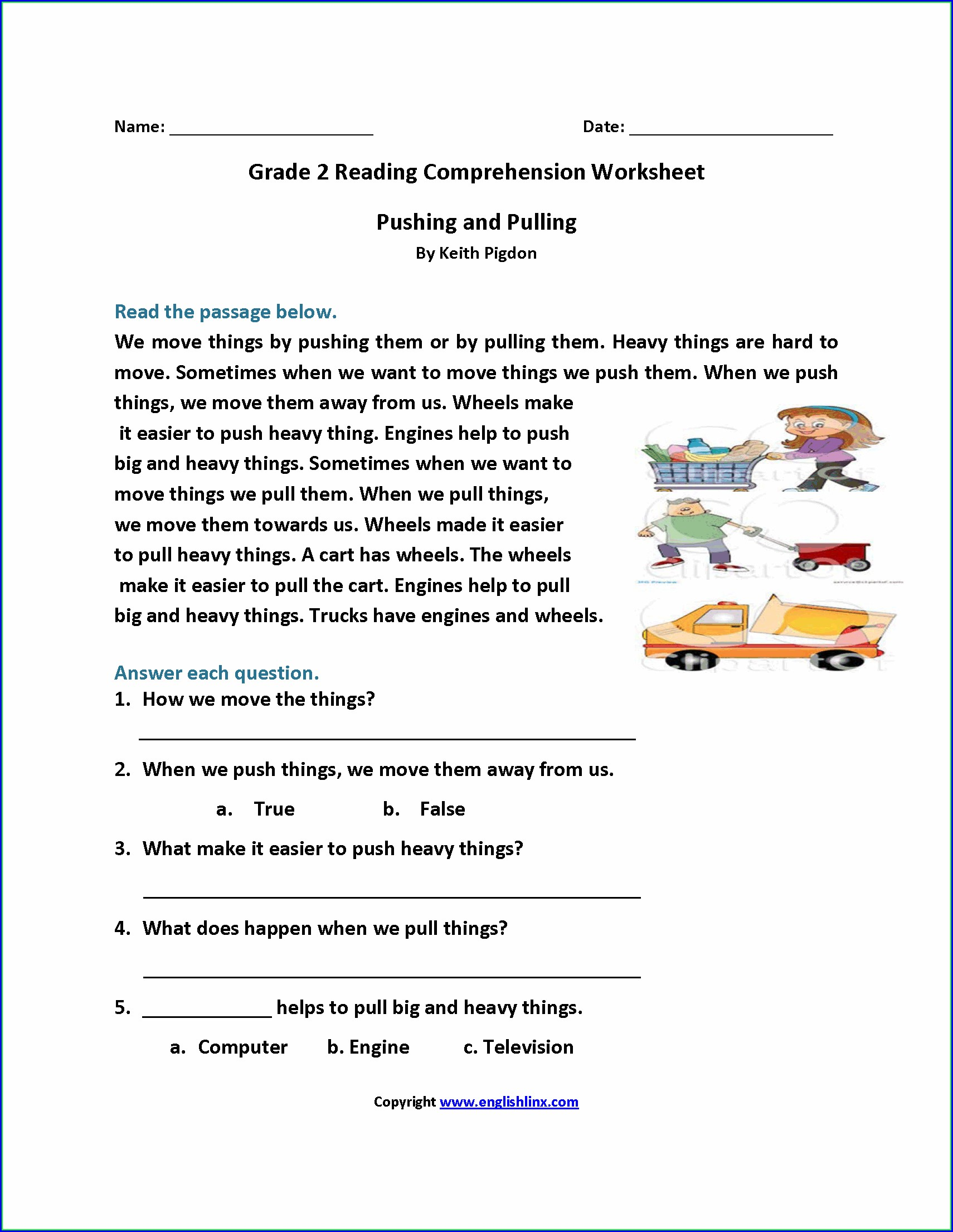 Daily Reading Comprehension Grade 4 Worksheets