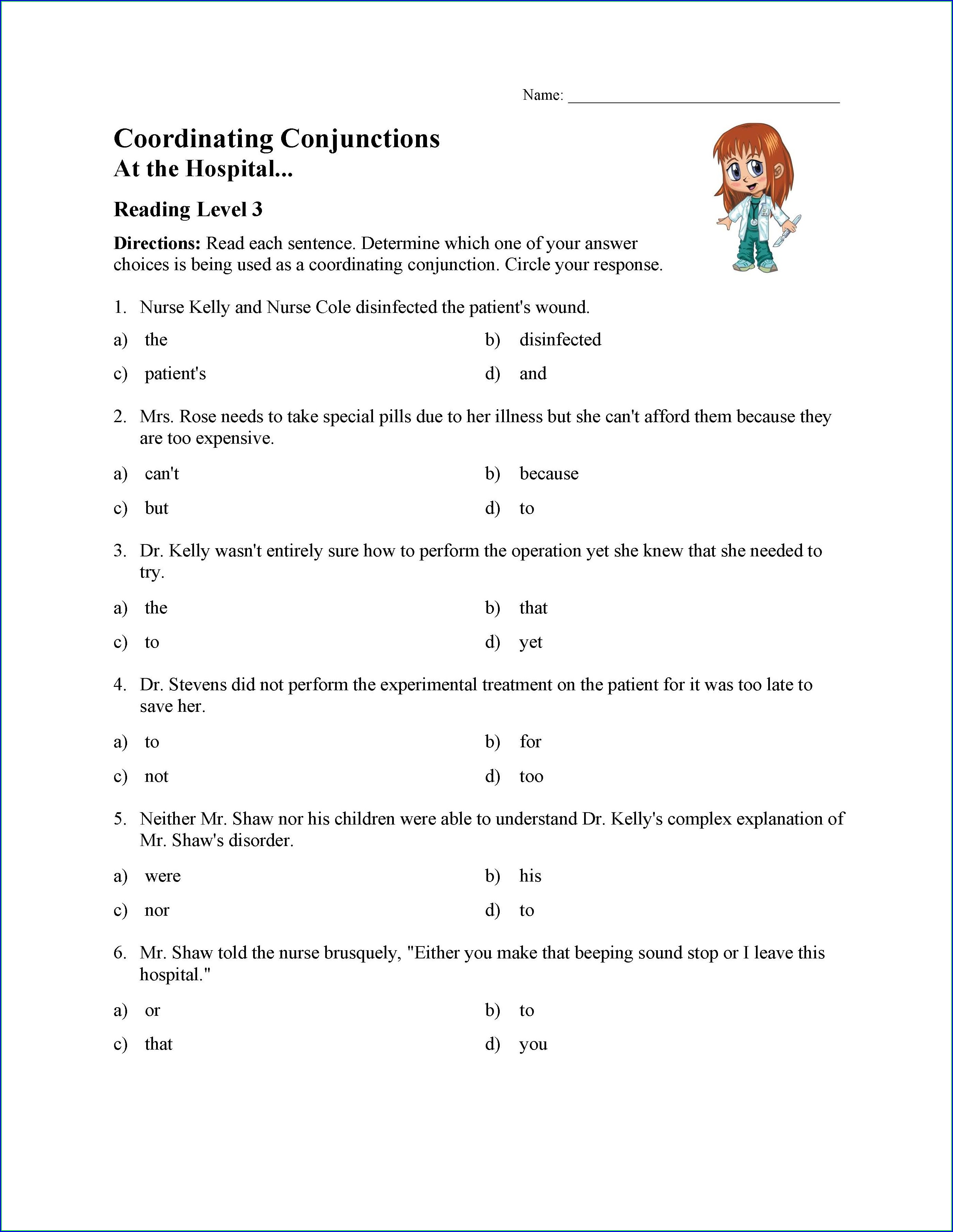 3rd Grade Conjunctions Worksheets For Grade 3