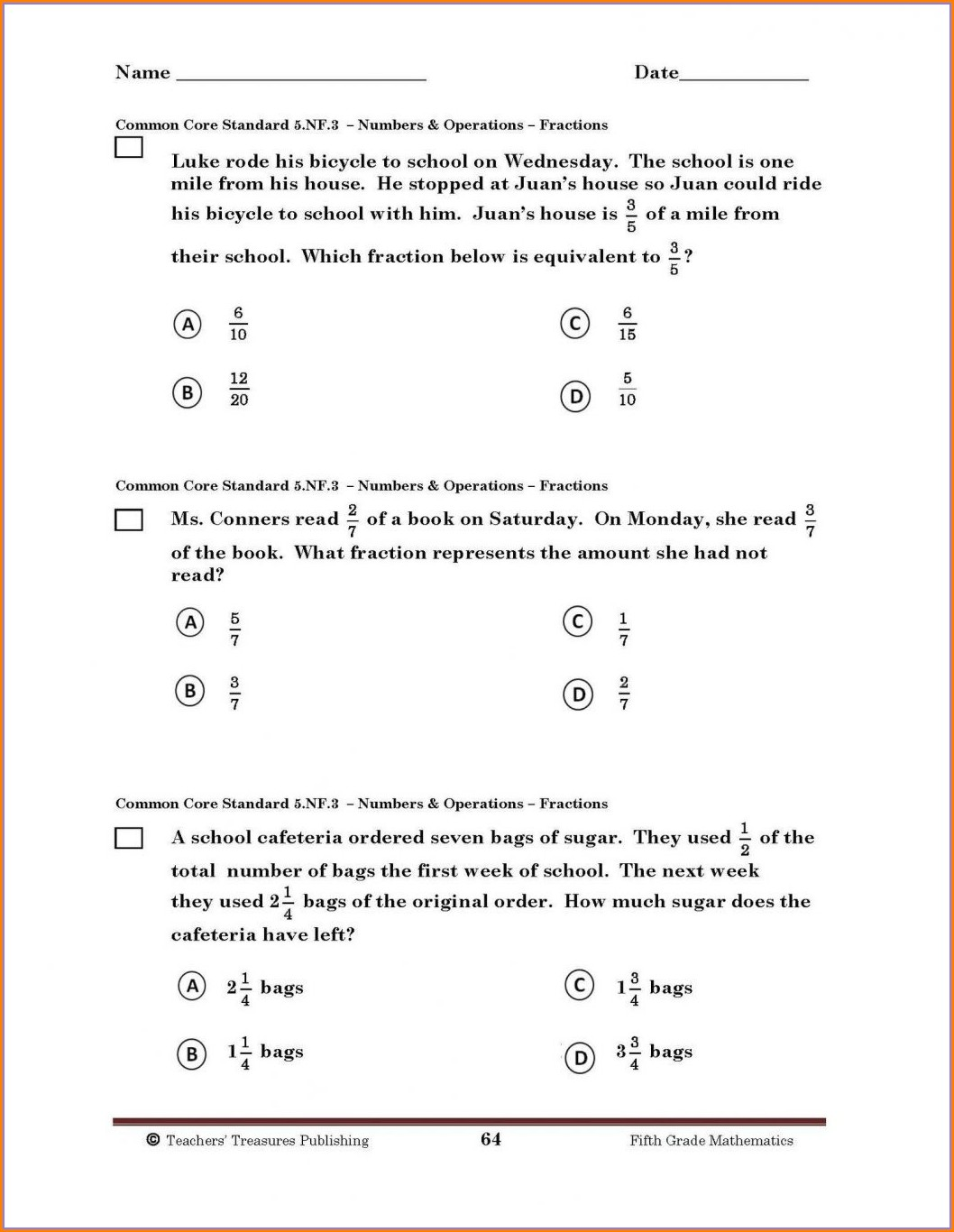 Third Grade 3rd Grade Common Core Math Worksheets