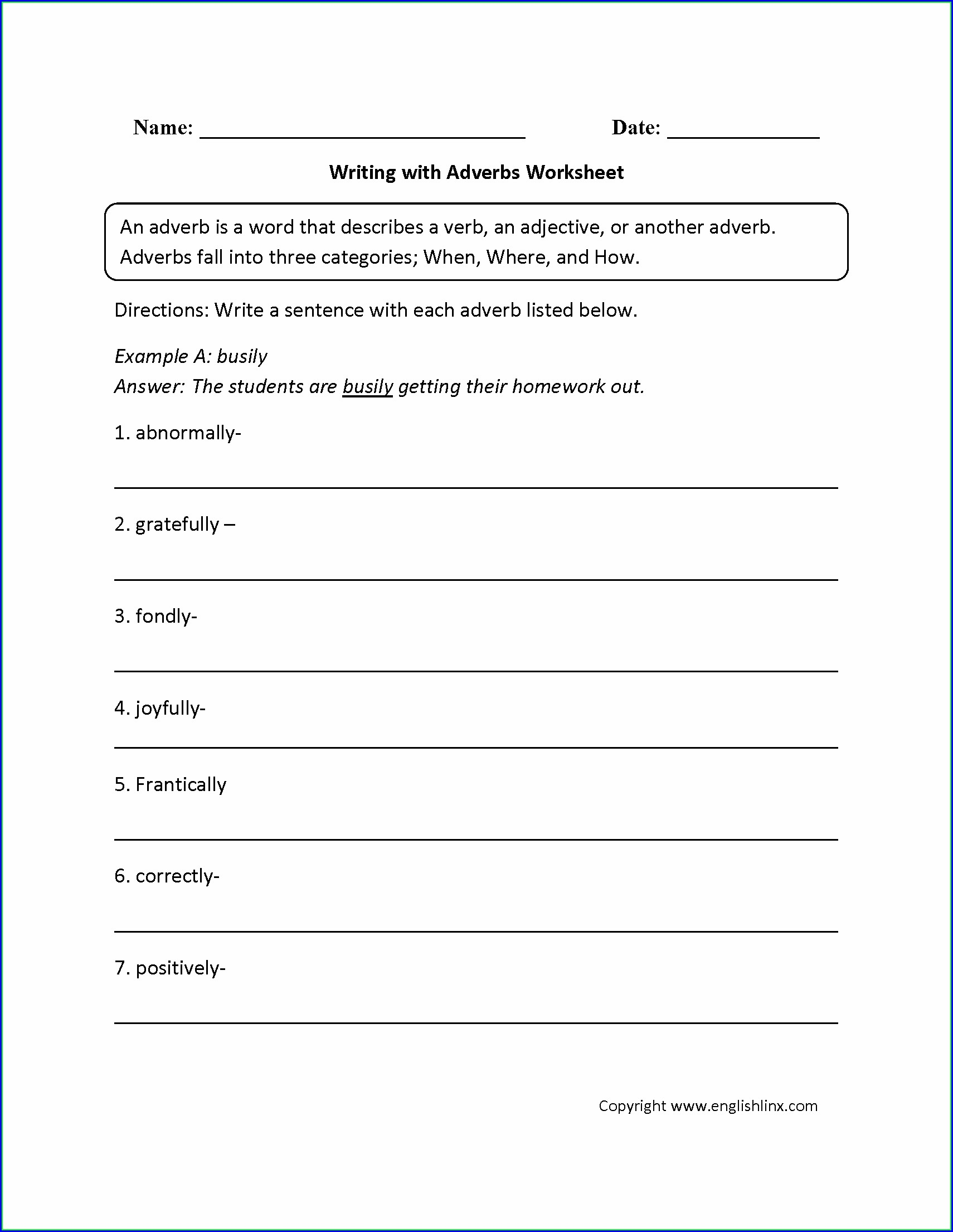 Middle School Adjective Worksheets