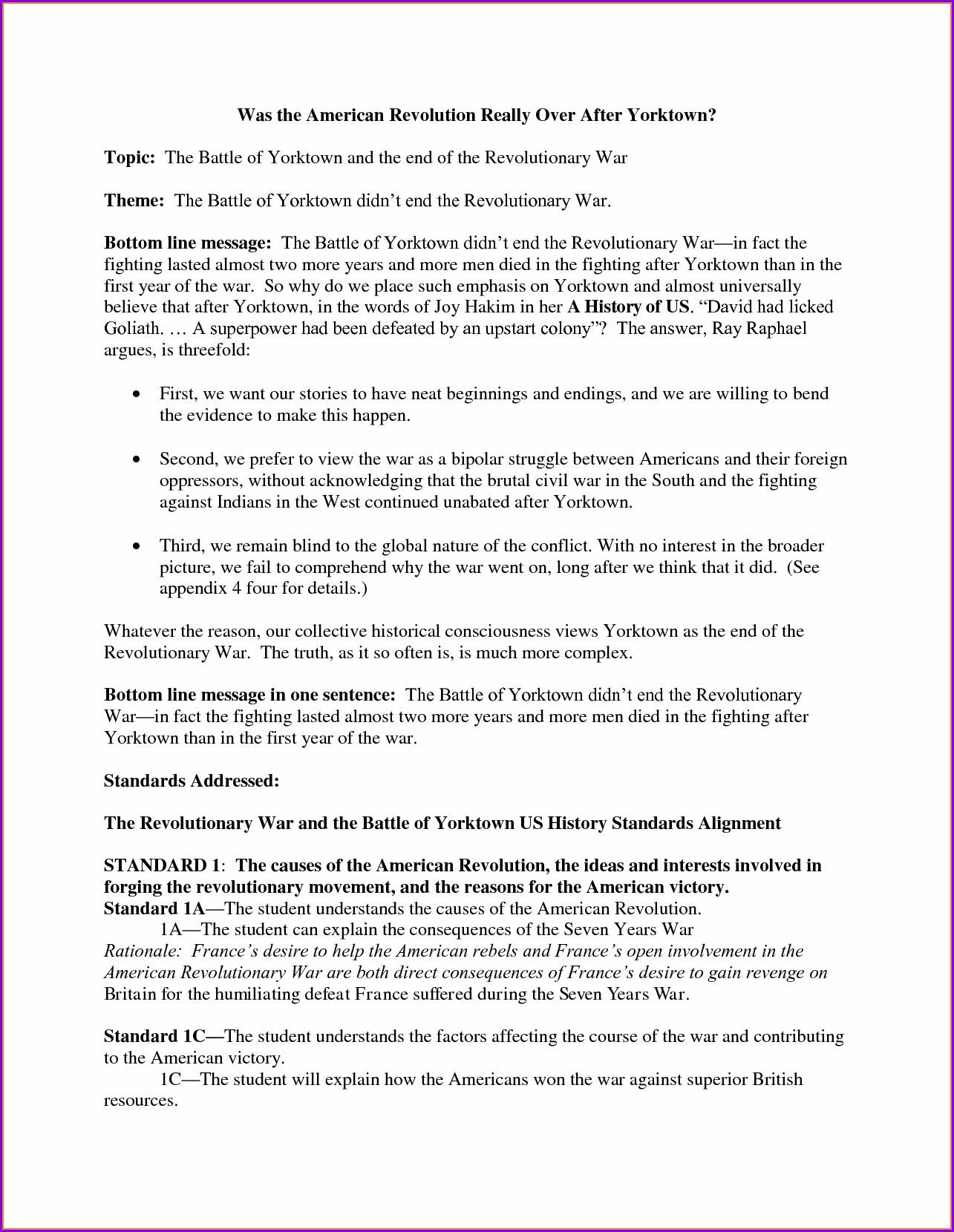 American Revolution Timeline Worksheet