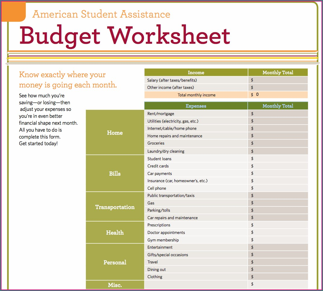 Monthly Budget Worksheet For Students