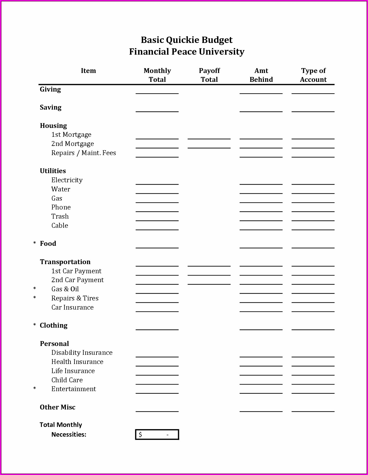 Budget Worksheet For High School Students
