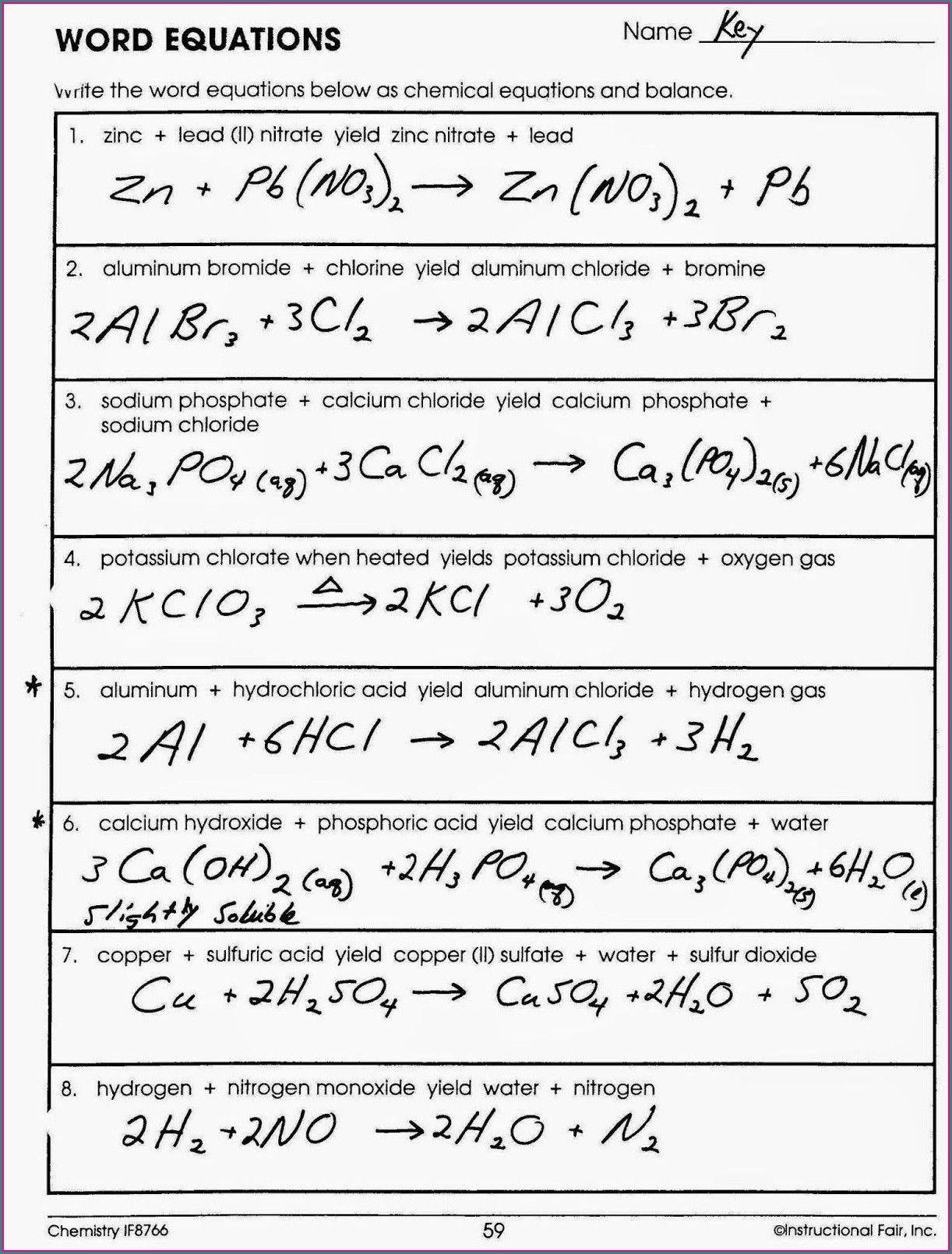 Answer Key Word Equations Worksheet Answers