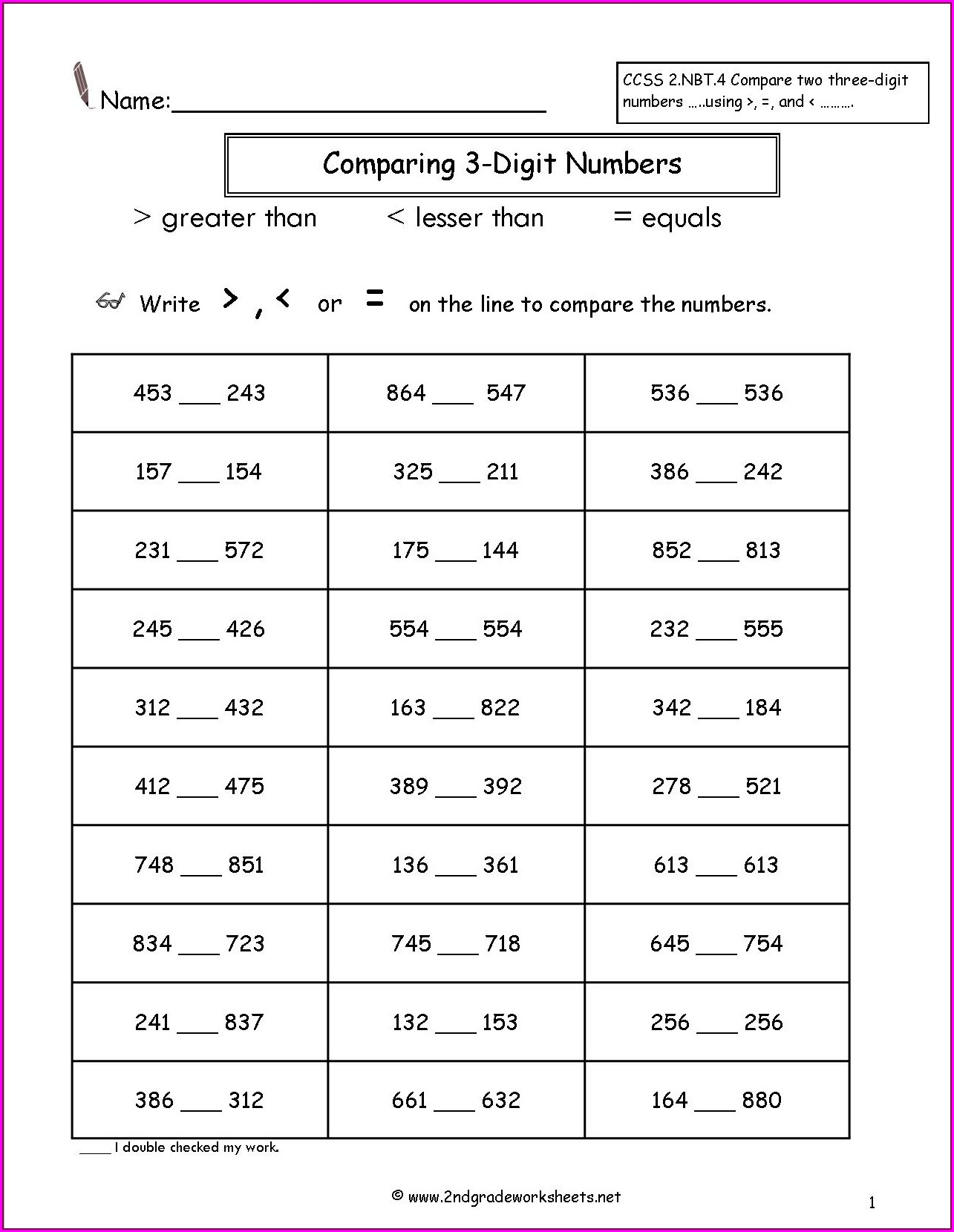First Grade Comparing Numbers Worksheets For Grade 1