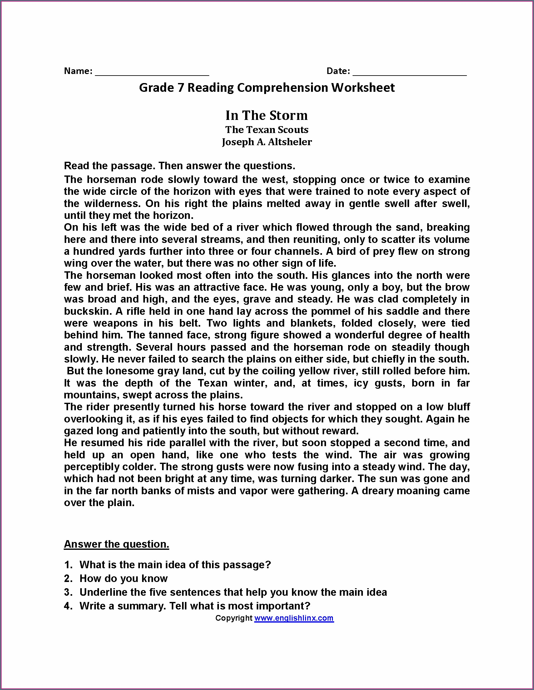 Comprehension Passages In English For Class 6