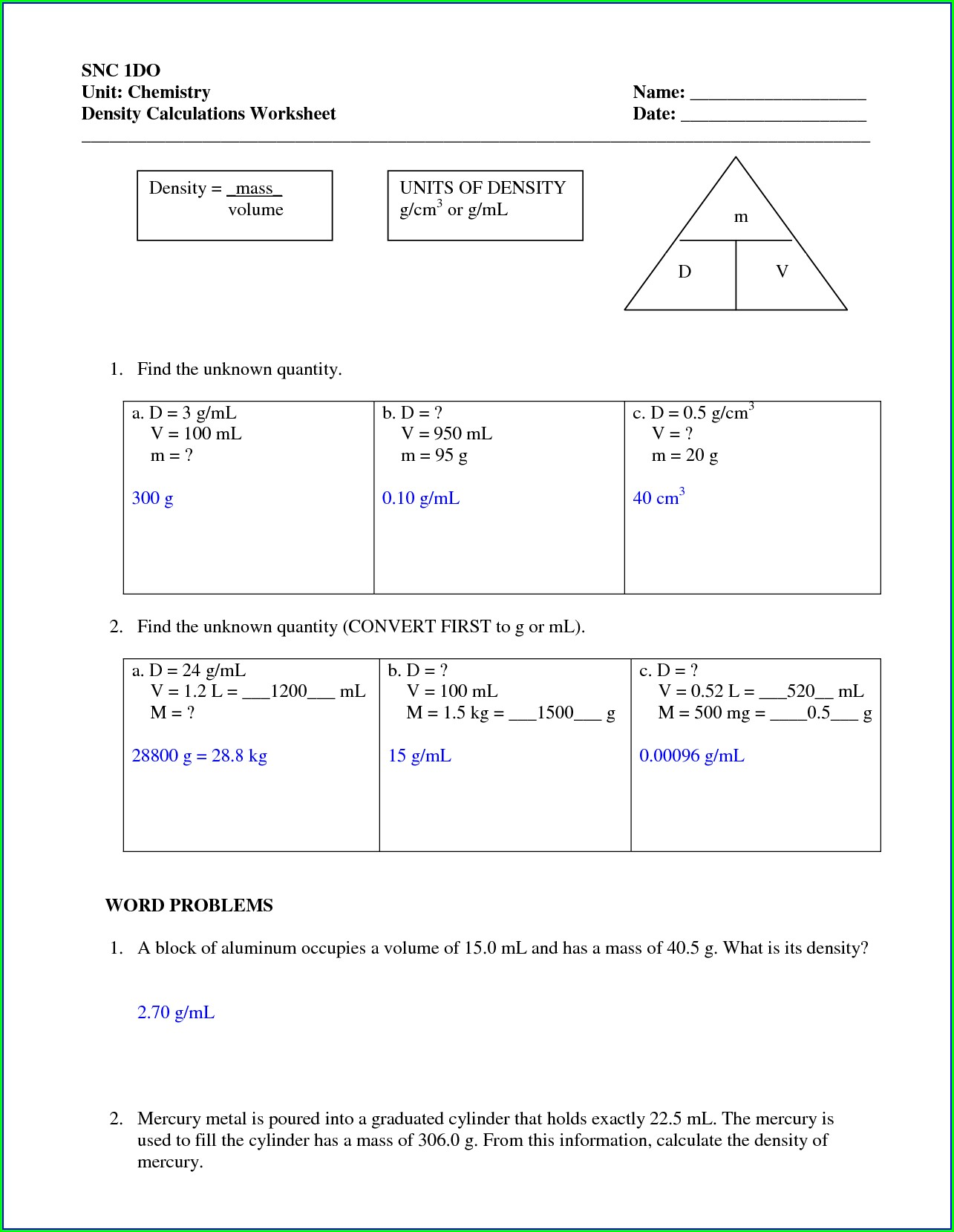Density Problems Chemistry Worksheet With Answers