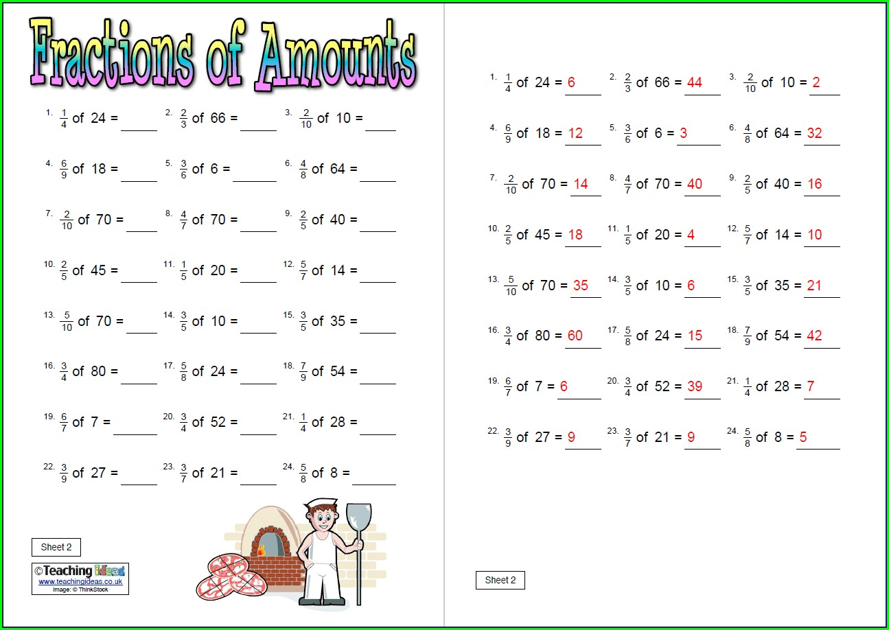 Fractions Of Amounts Worksheet Year 6