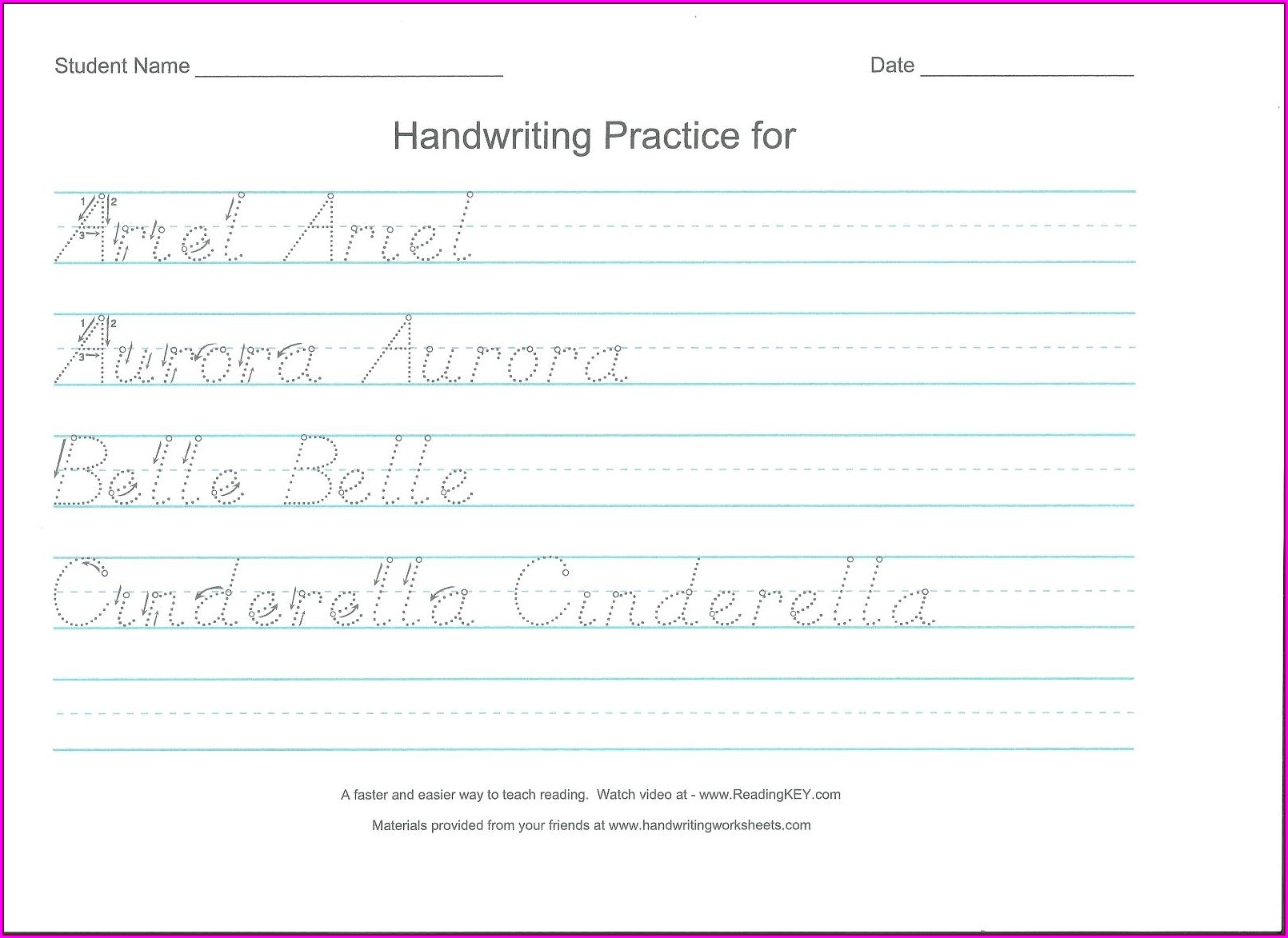 Preschool Sight Word Handwriting Worksheets