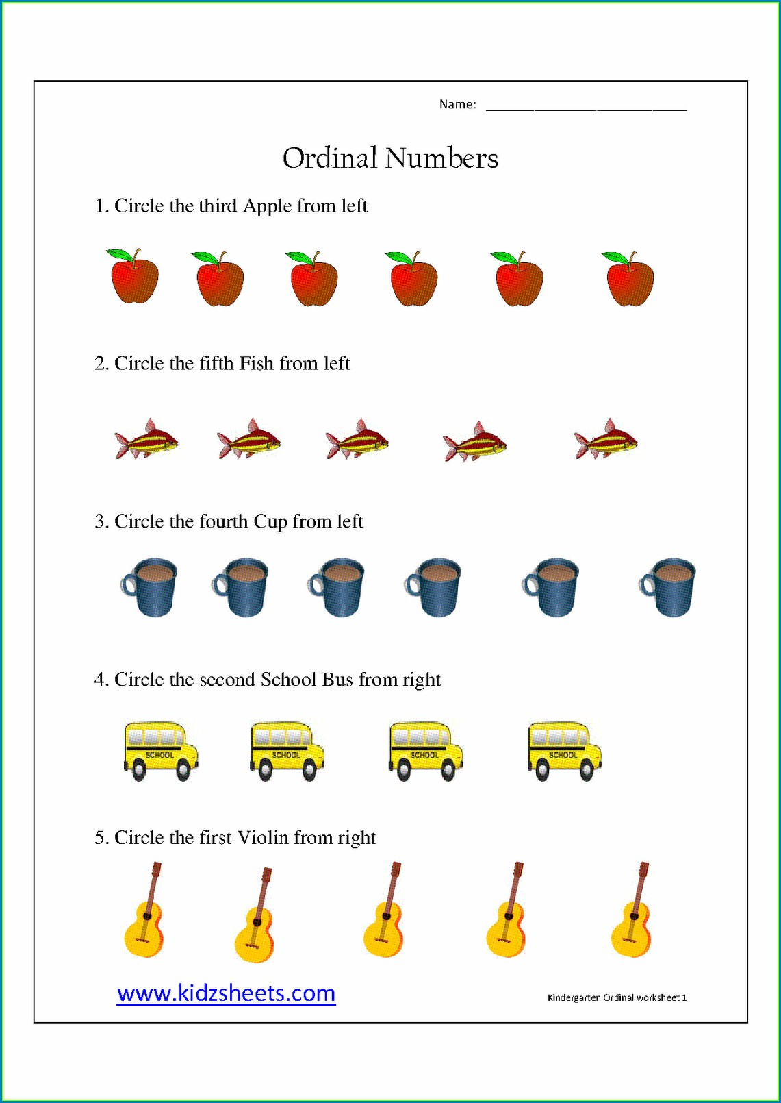 Preschool Ordinal Numbers Worksheet Kindergarten