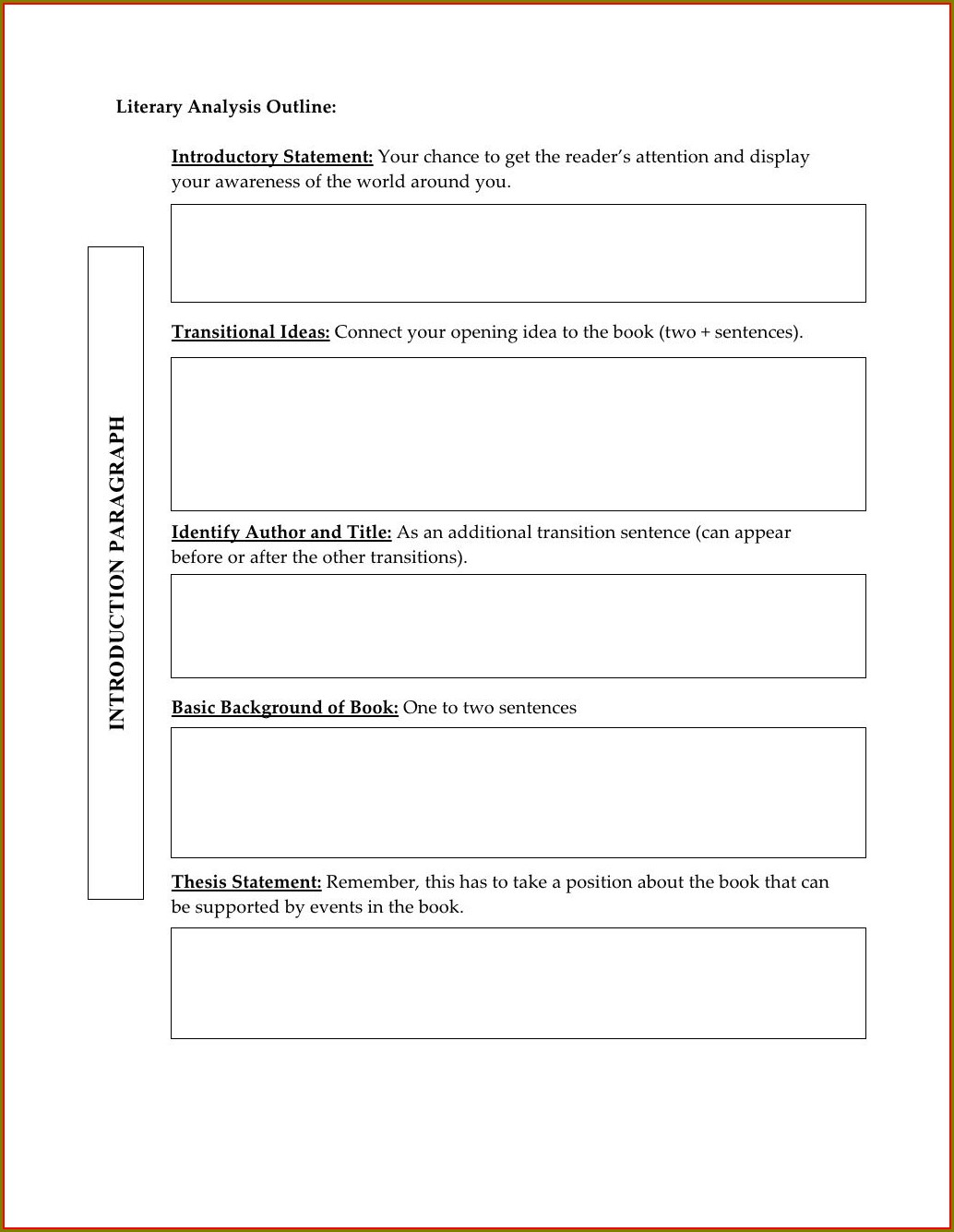 Middle School Characterysis Outline Worksheet