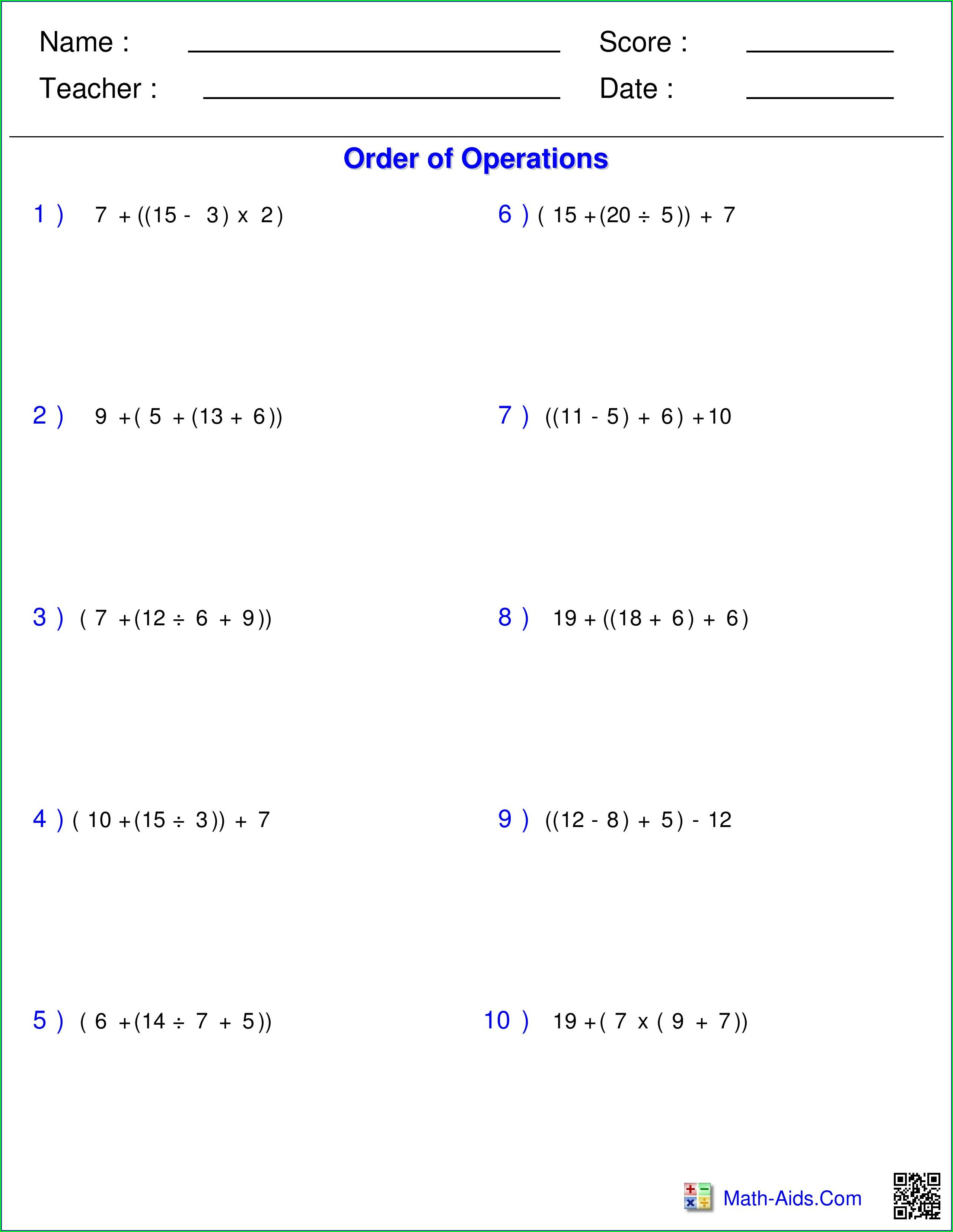Order Of Operations Worksheet 4th Grade