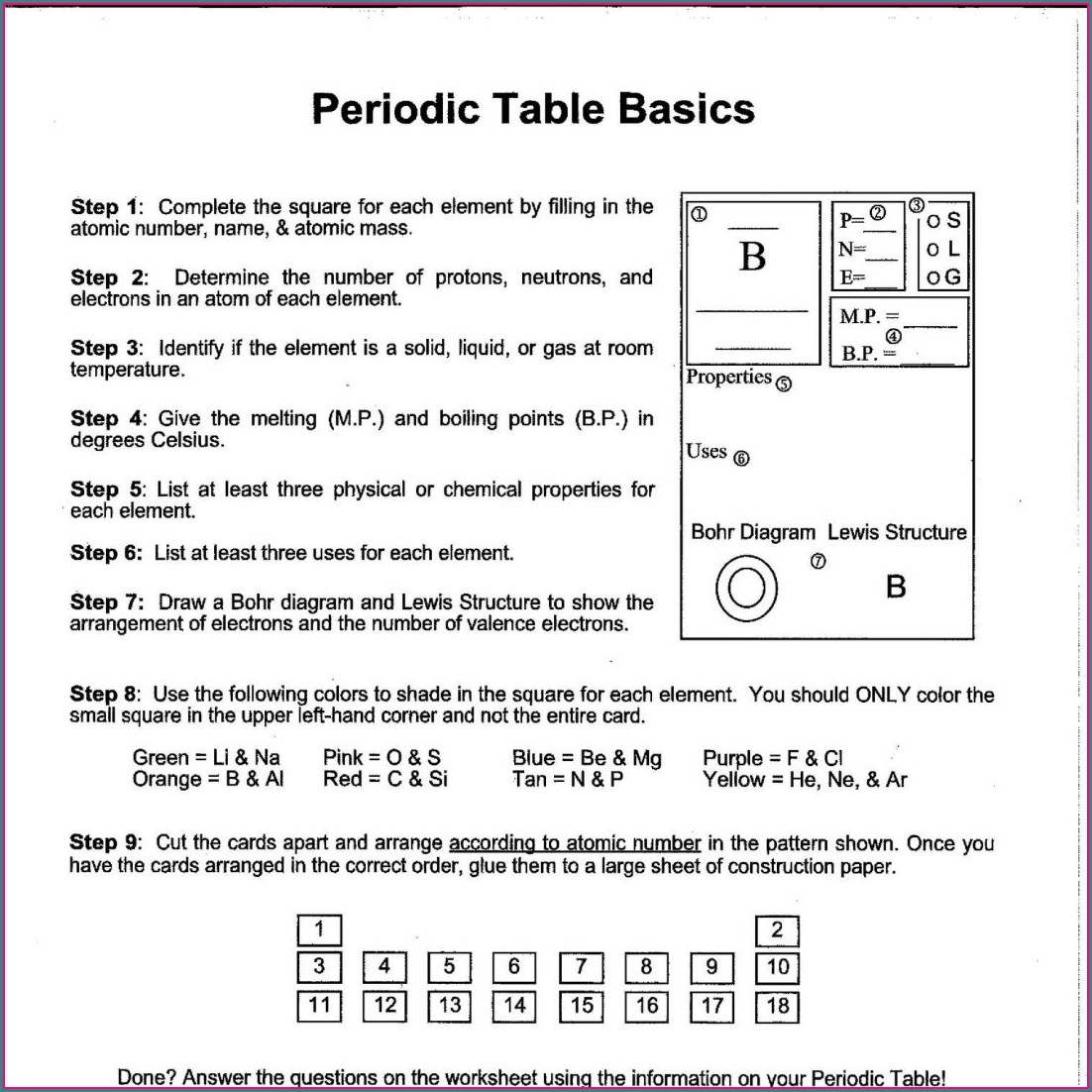Periodic Table Worksheet Instructional Fair Chemistry