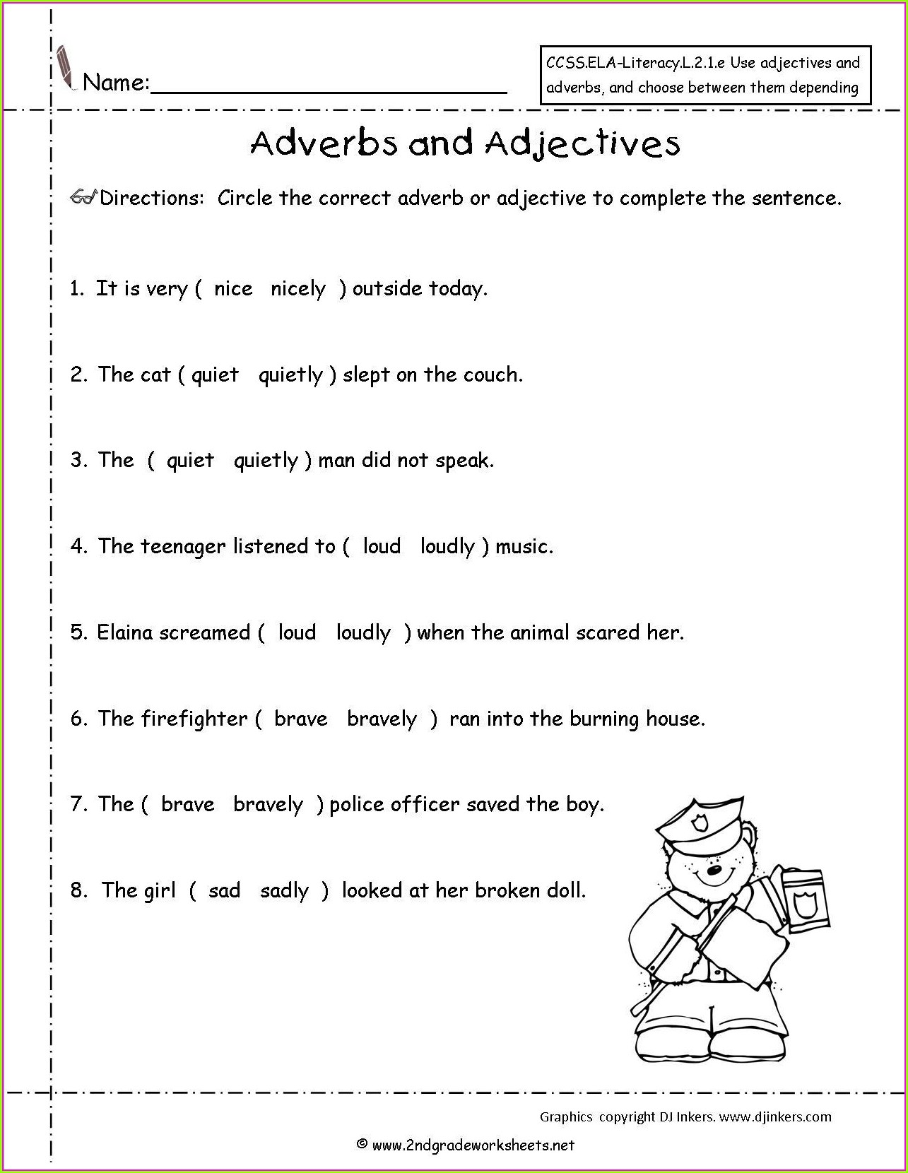 Grade 2 Adverbs Worksheet With Answers