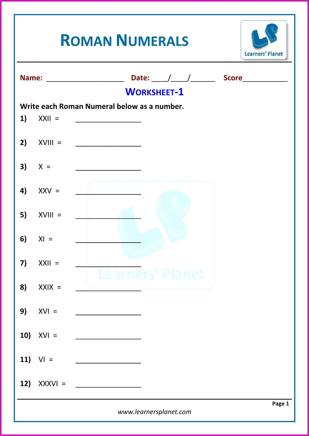5th Grade Roman Numerals Worksheet For Grade 5