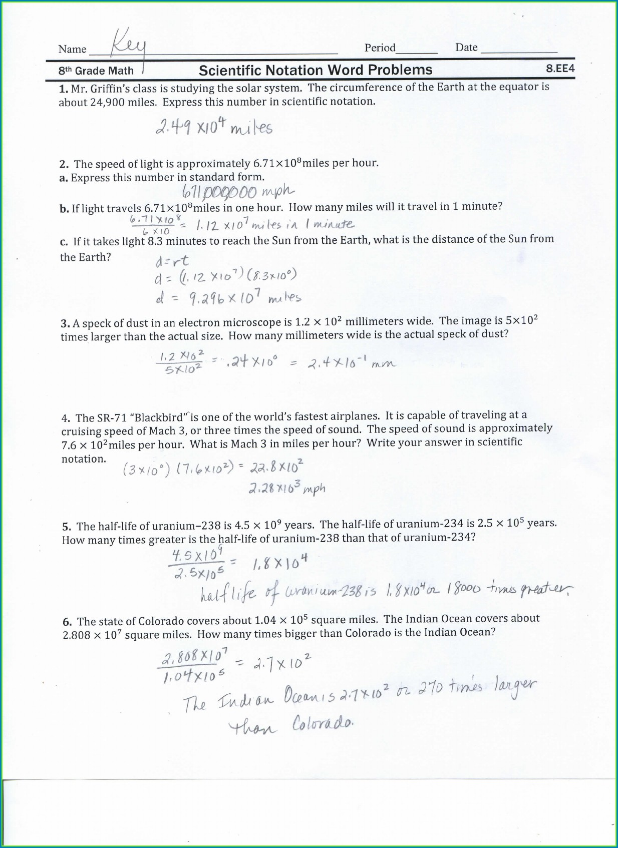 Scientific Notation Word Problems Worksheet Answer Key
