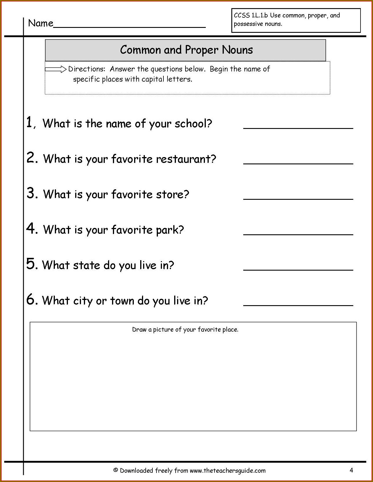3rd Grade Concrete And Abstract Nouns Worksheet