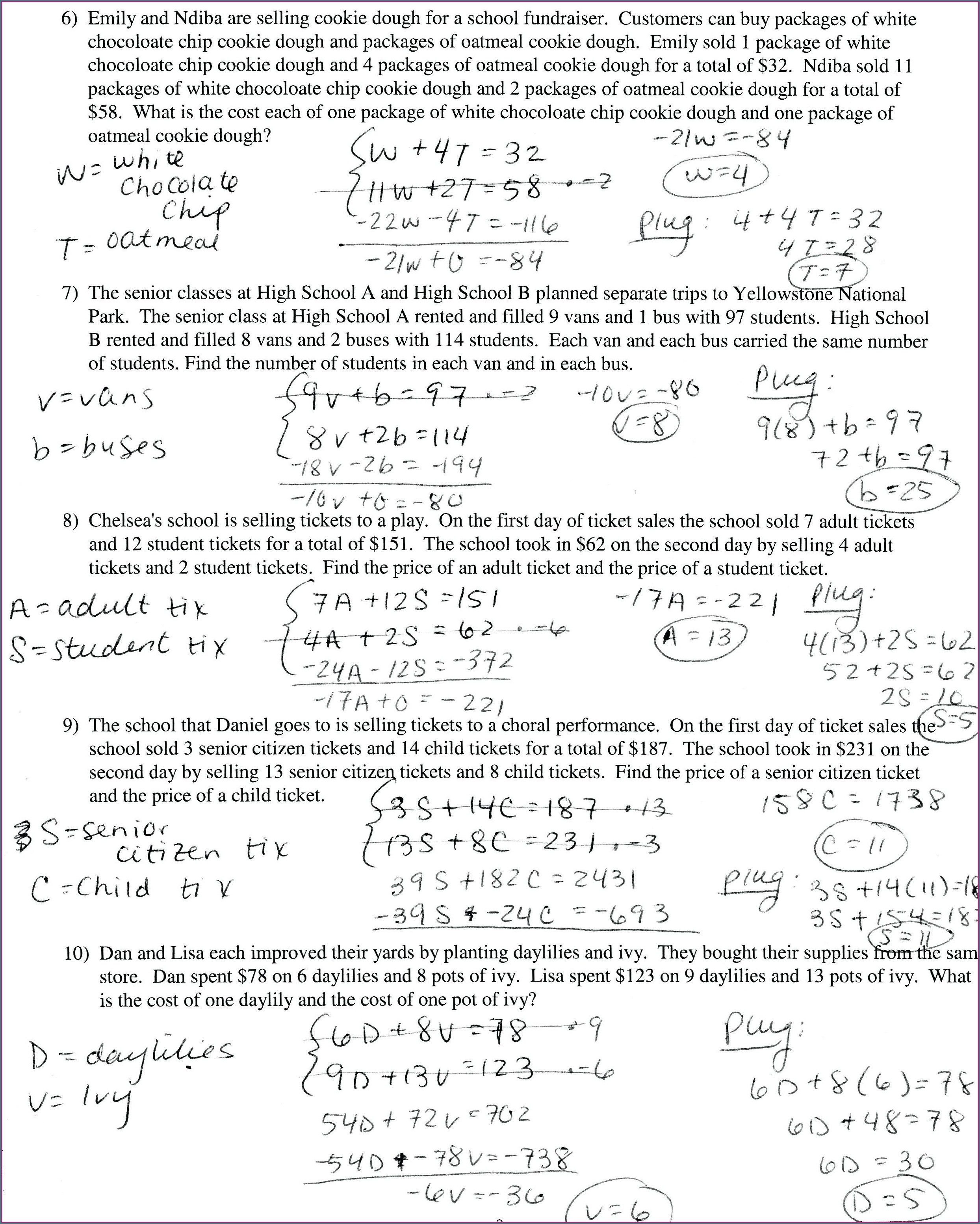 Word Problems Leading To Equations Matching Worksheet