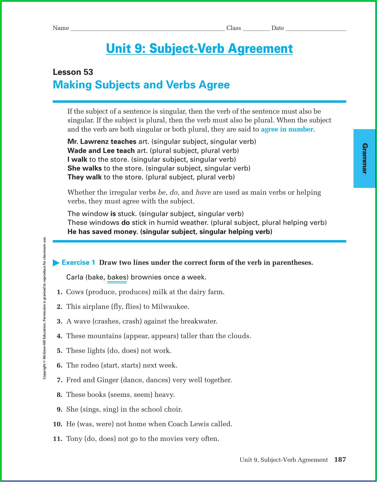 Subject Verb Agreement Worksheets With Answers Doc
