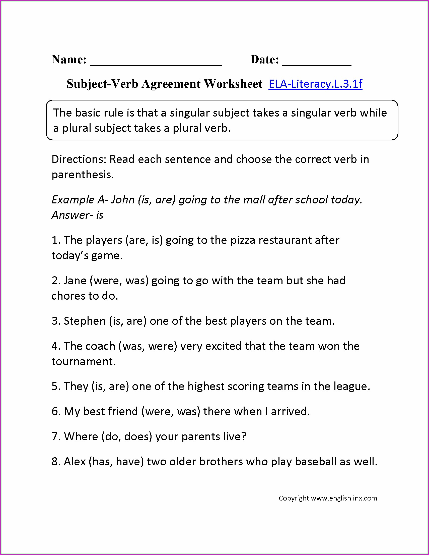 Subject Verb Agreement Quiz Second Grade