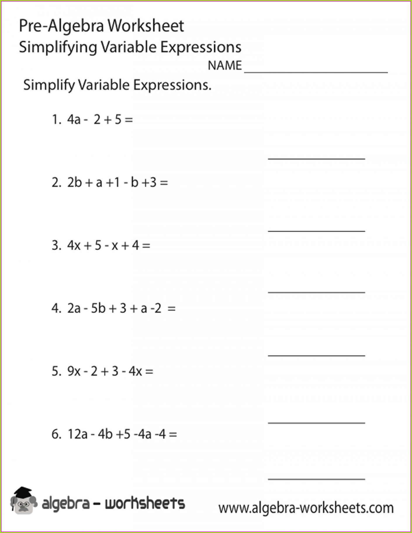 Simplifying Algebraic Fractions Worksheet With Answers