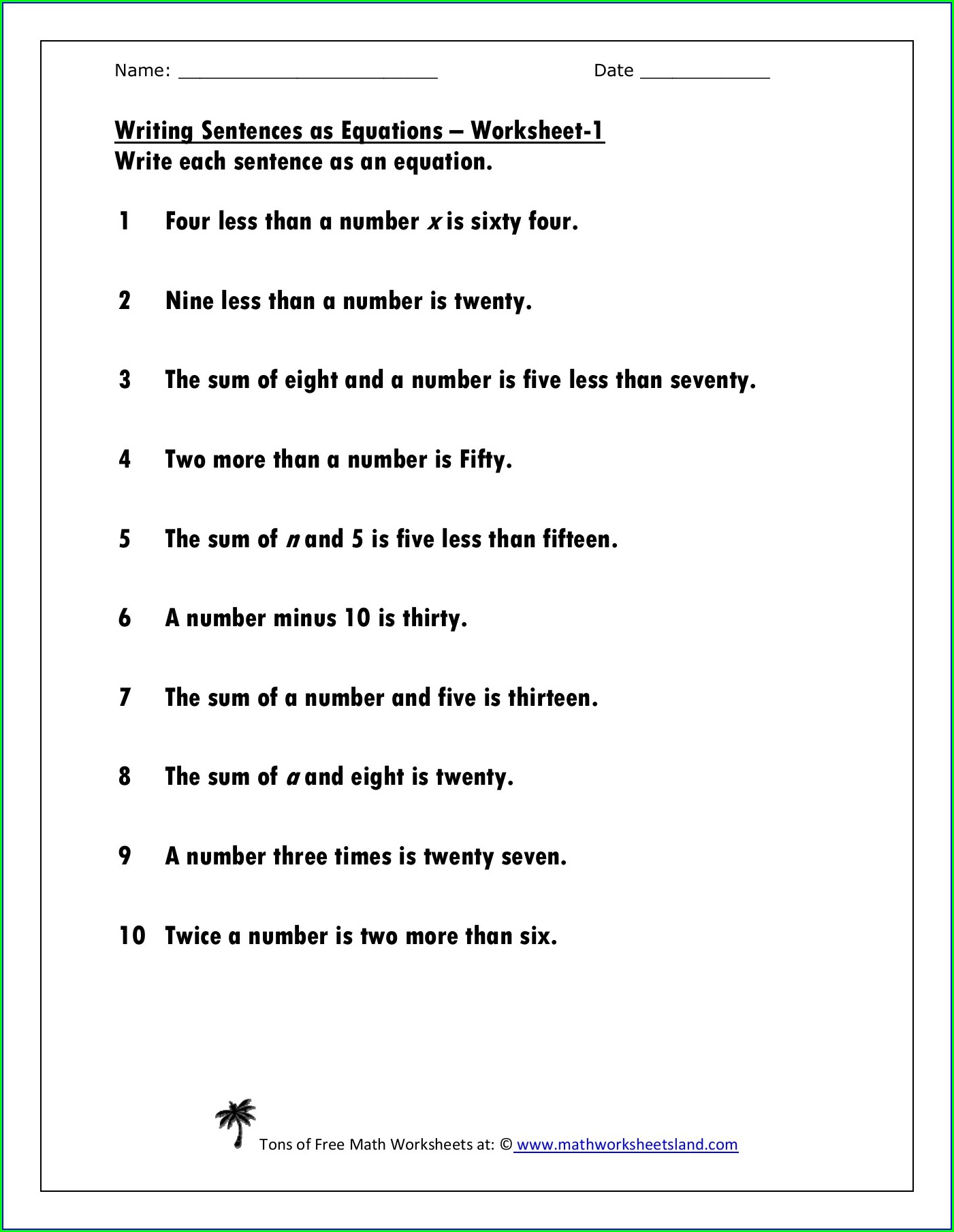 Writing Sentences As Equations Worksheet Answers