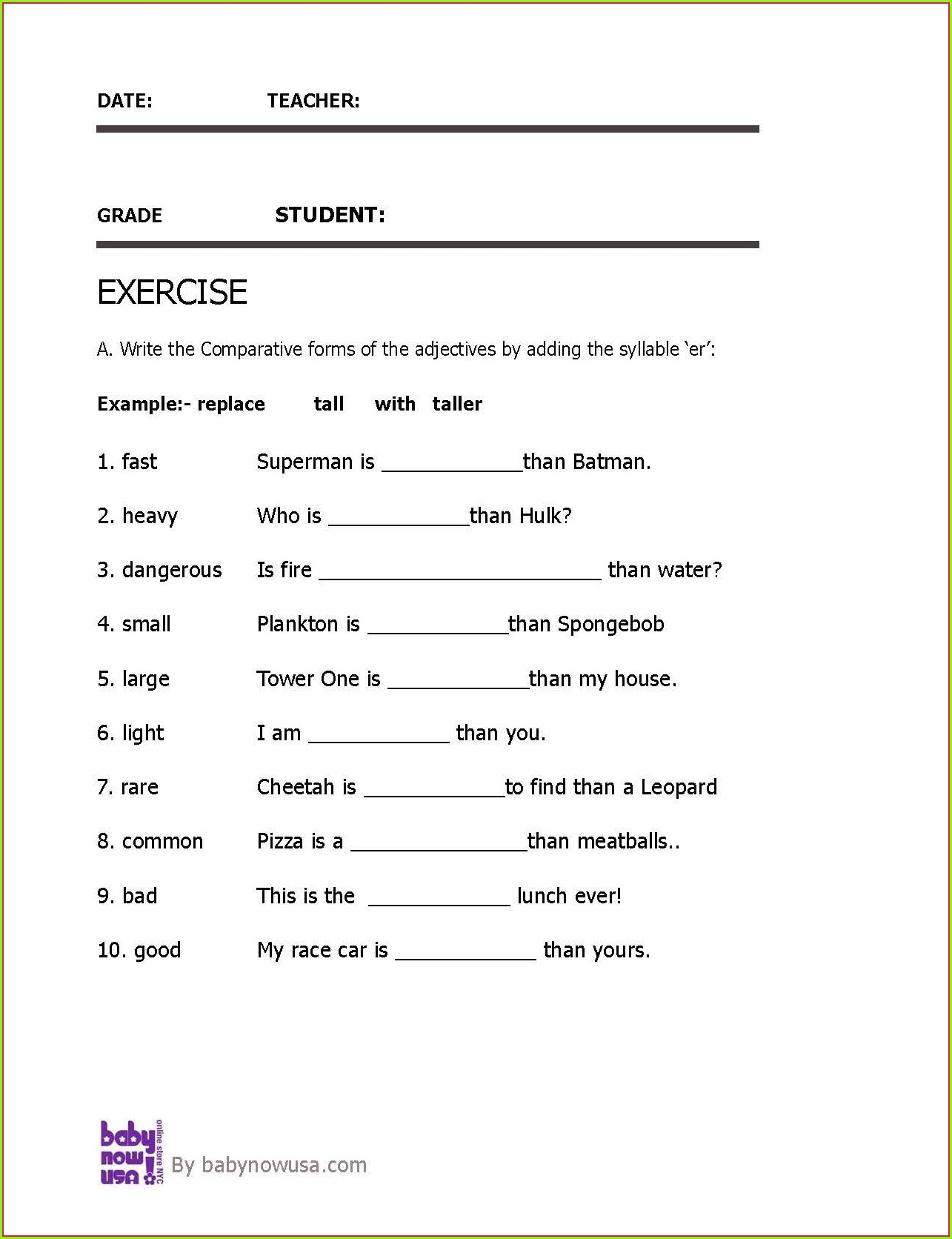 Fifth Grade Adjectives Worksheets For Grade 5 With Answers