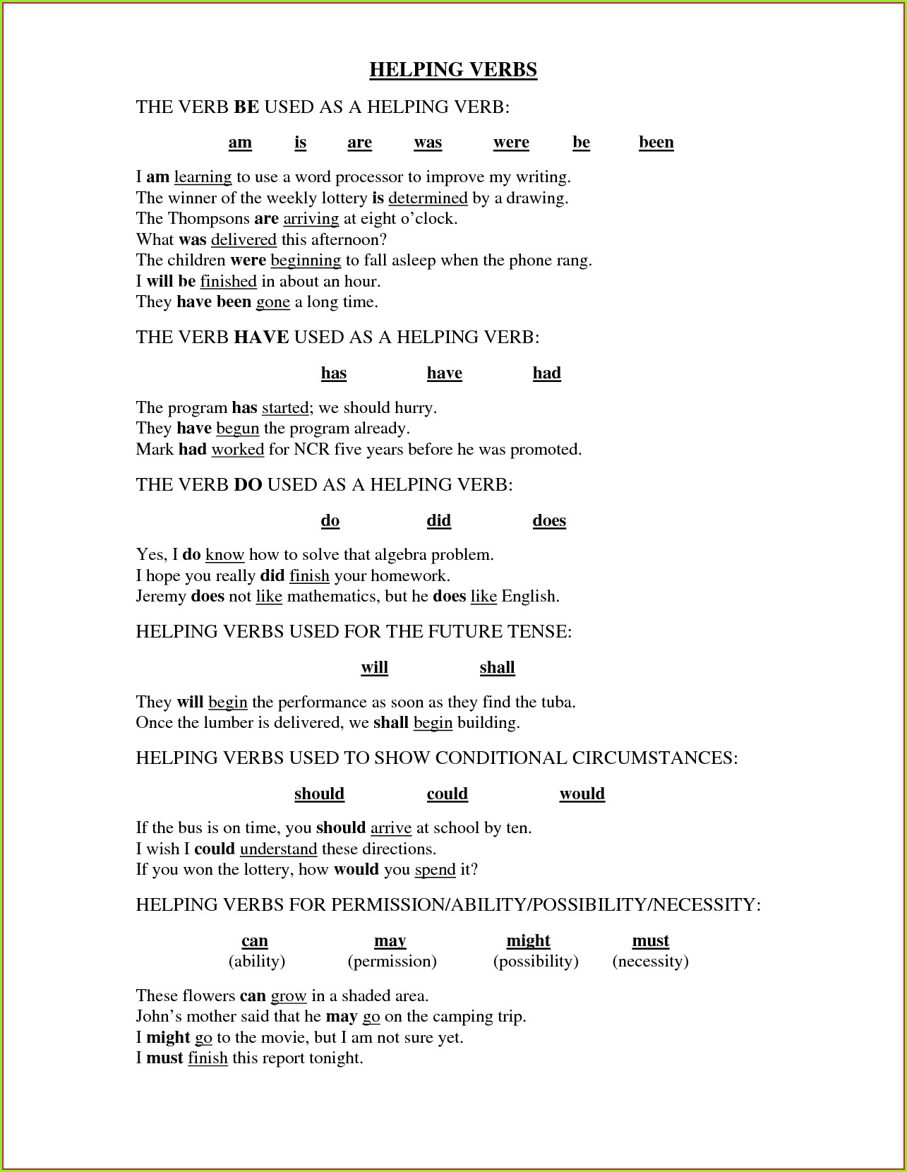 3rd Grade Irregular Verbs Worksheets