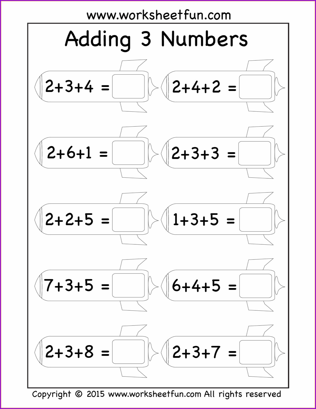 First Grade Adding Three Numbers Worksheets