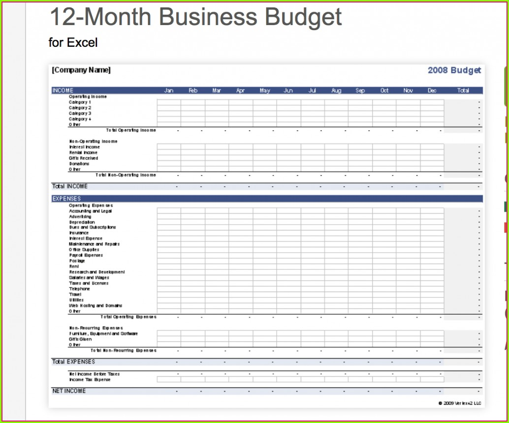 Budget Worksheet In Excel