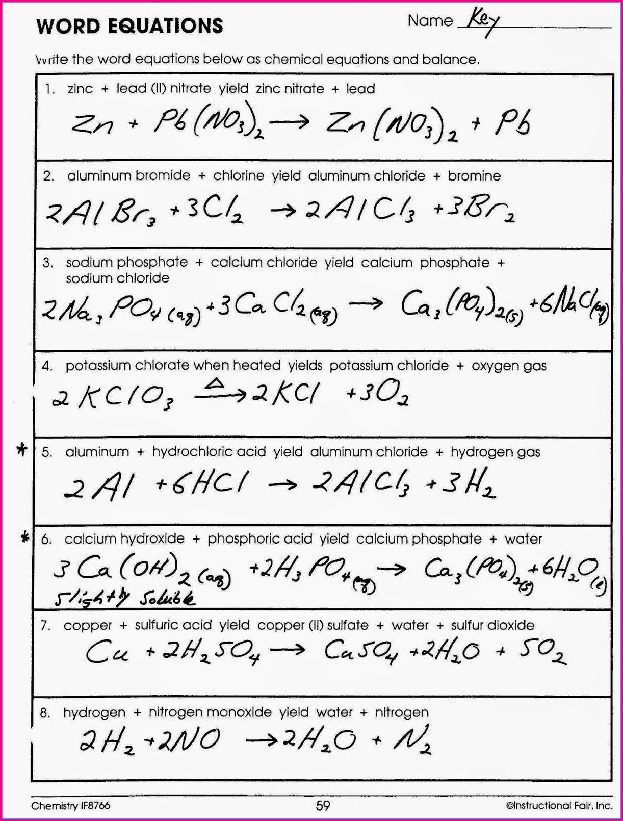 Balancing Chemical Word Equations Practice Worksheet With