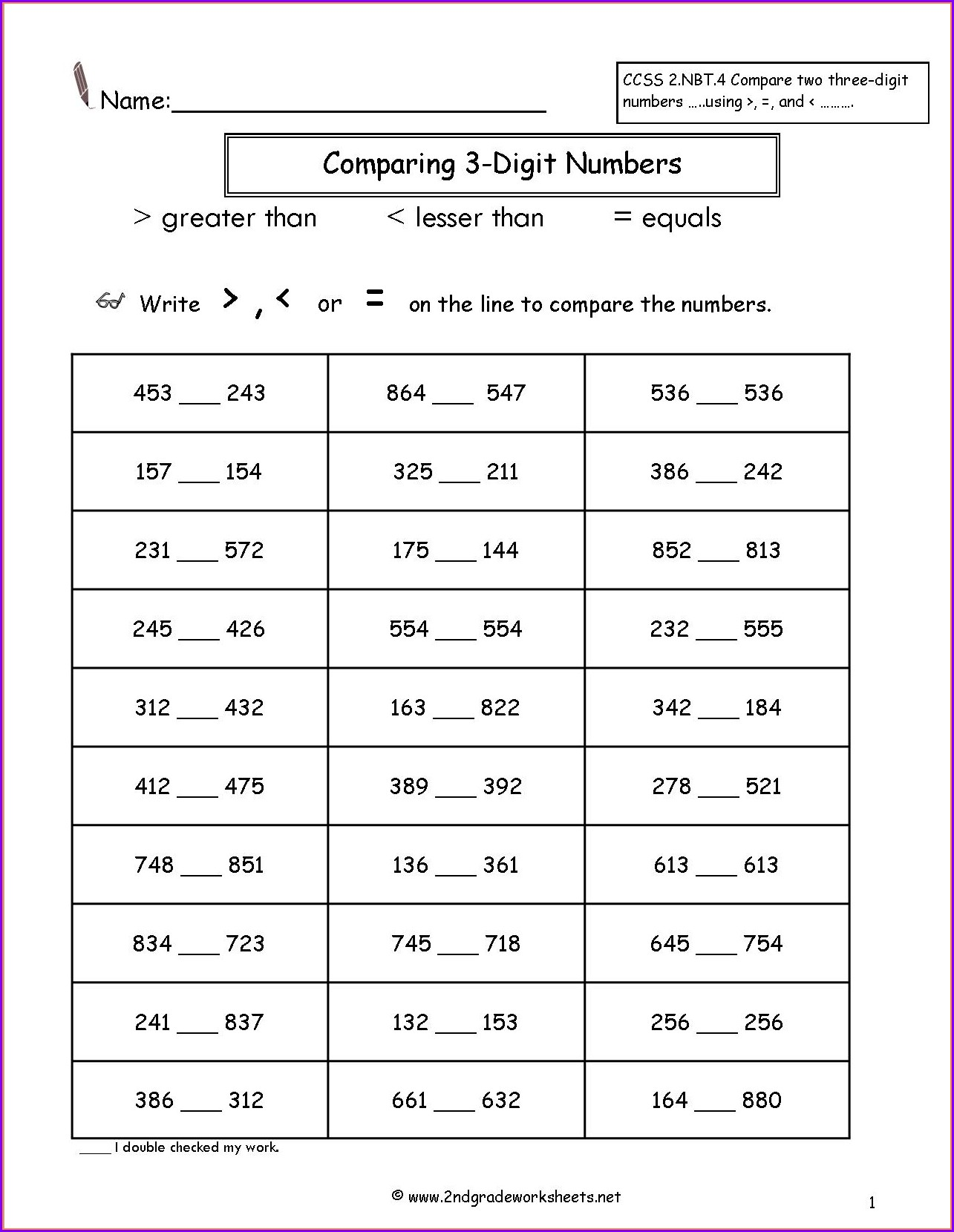 Comparing And Ordering Rational Numbers Worksheet Answer