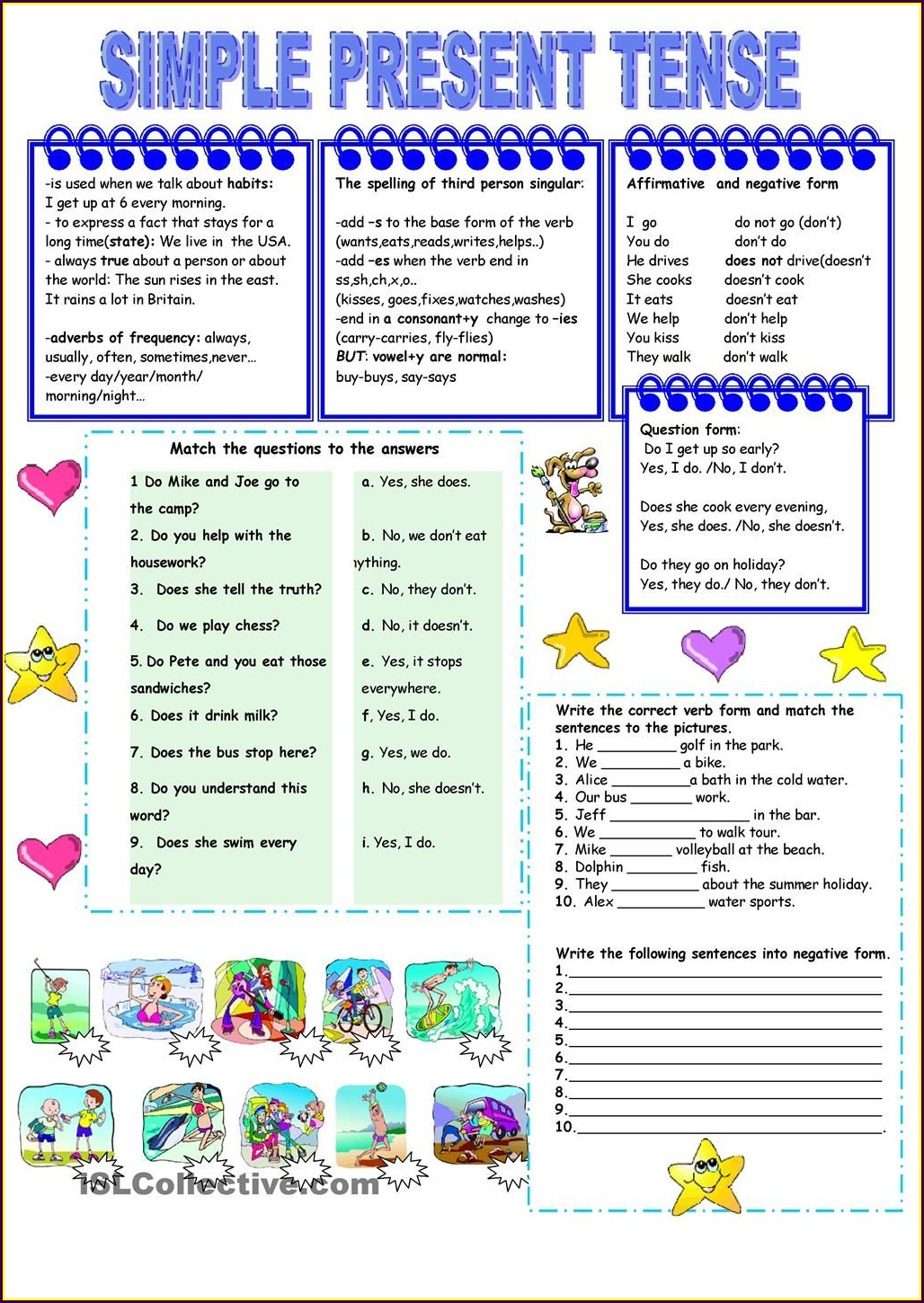 Worksheet Simple Present Tense
