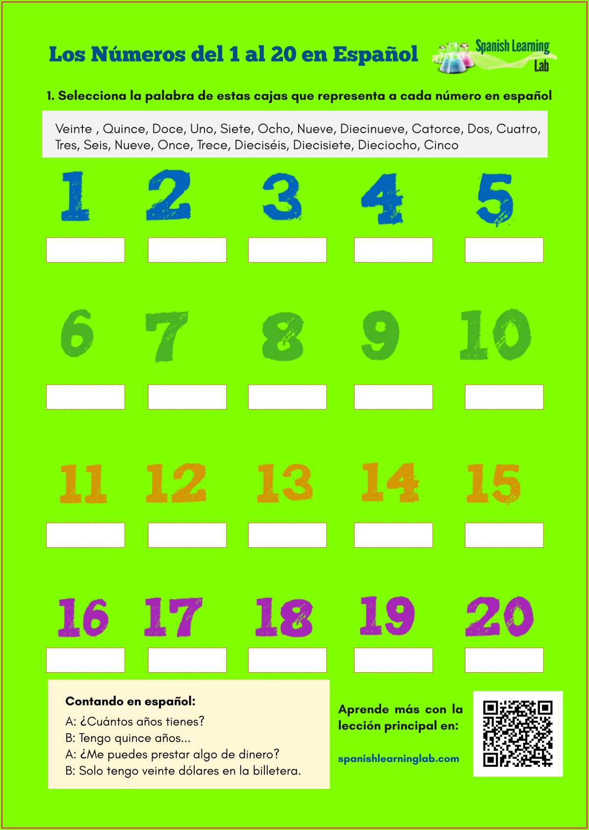 Spanish Numbers Worksheets For Kindergarten