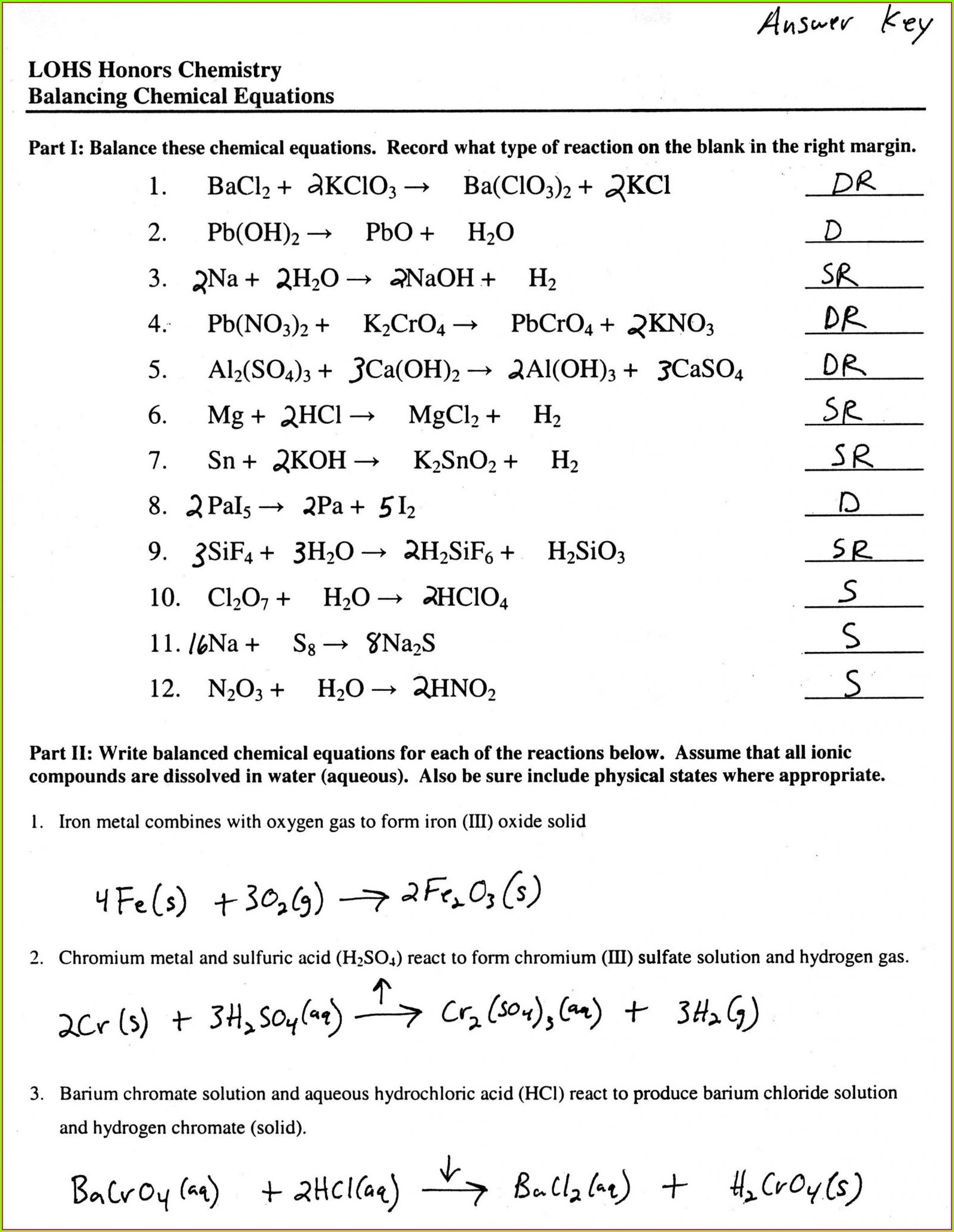 Worksheet 1 Word And Skeleton Equations Answer Key