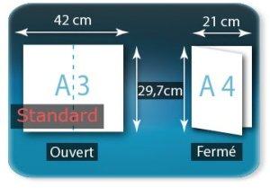 Dépliants / Plaquettes ouvert A3 420x297mm - fermé A4 210X297mm