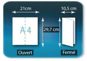 Dépliants / Plaquettes ouvert A4 210x297mm - fermé 105x297mm plié 1 pli type de pliage